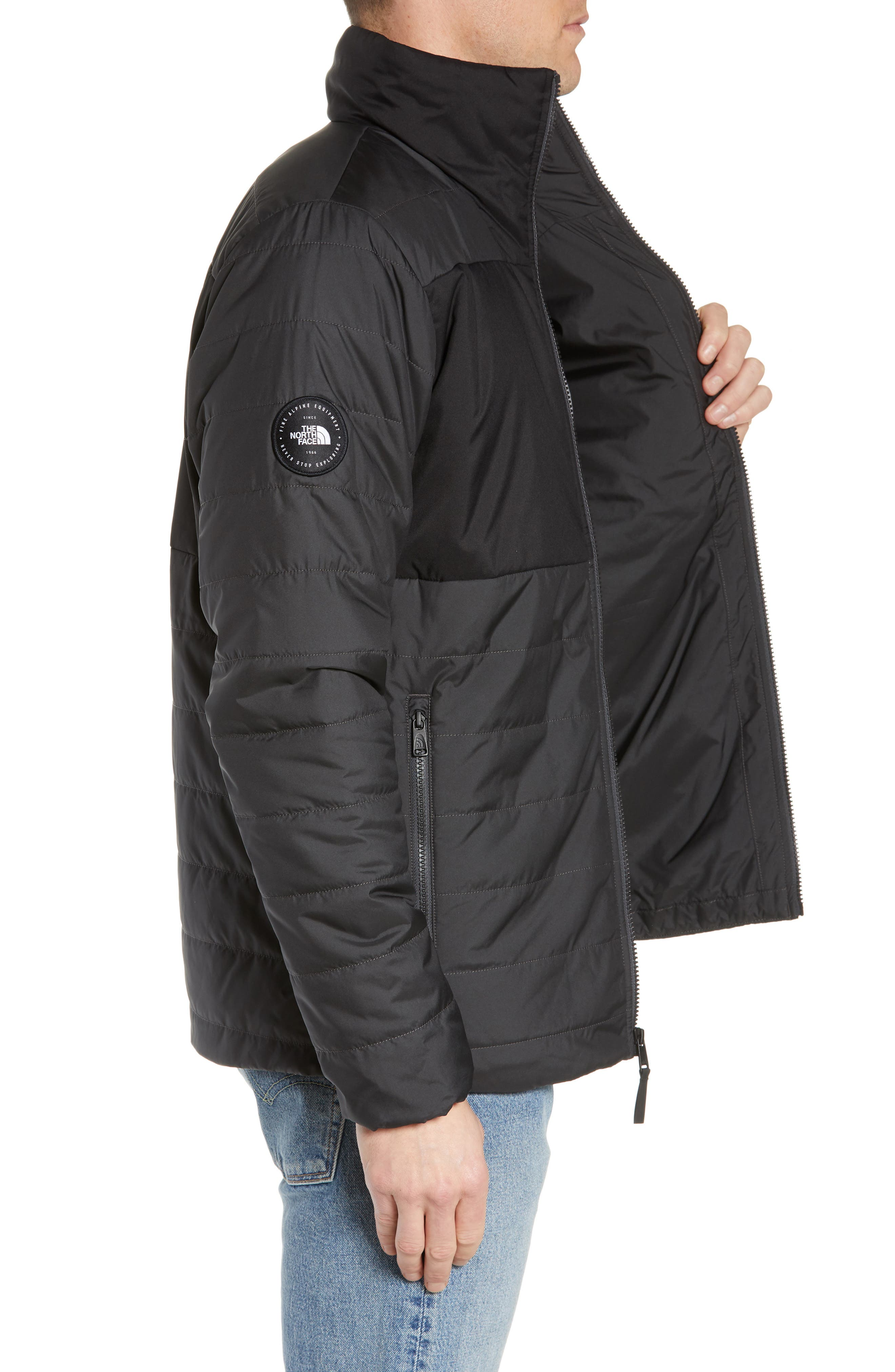 THE NORTH FACE, Insulated Jacket, Alternate thumbnail 4, color, TNF BLACK/ ASPHALT GREY