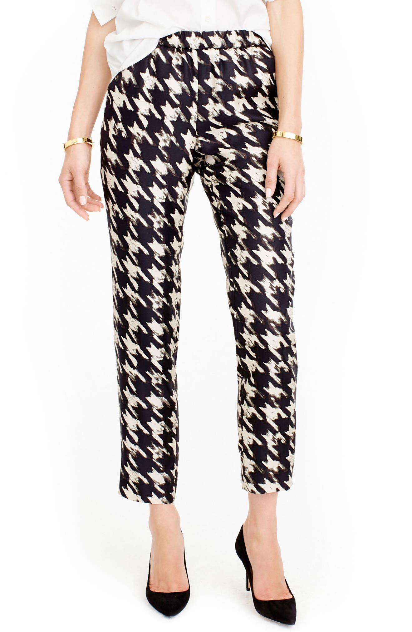 J.CREW Forrester Wolfstooth Silk Pants, Main, color, 901
