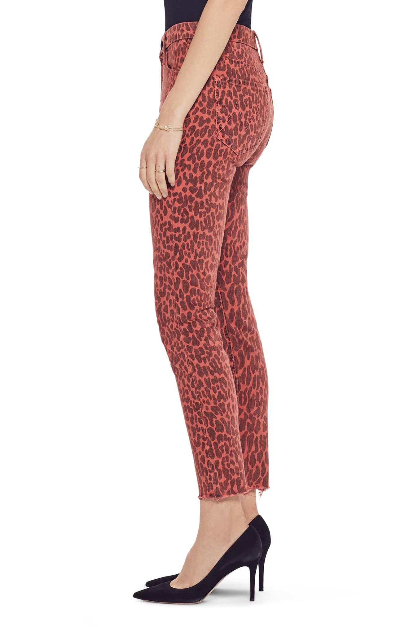 MOTHER, The Looker High Waist Fray Ankle Skinny Jeans, Alternate thumbnail 3, color, ANIMAL ATTRACTION