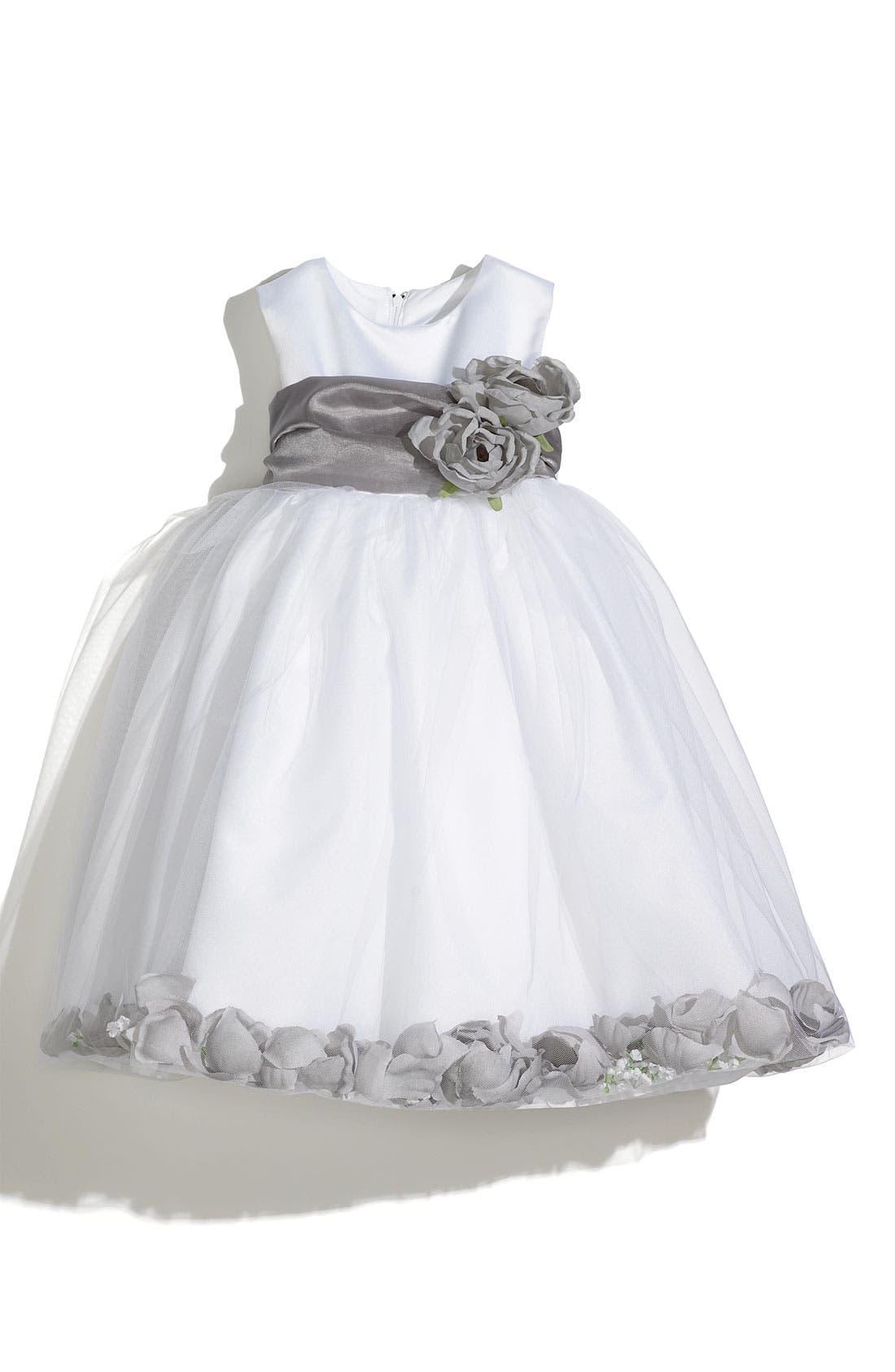 US ANGELS Petal Dress, Main, color, SILVER/ SILVER