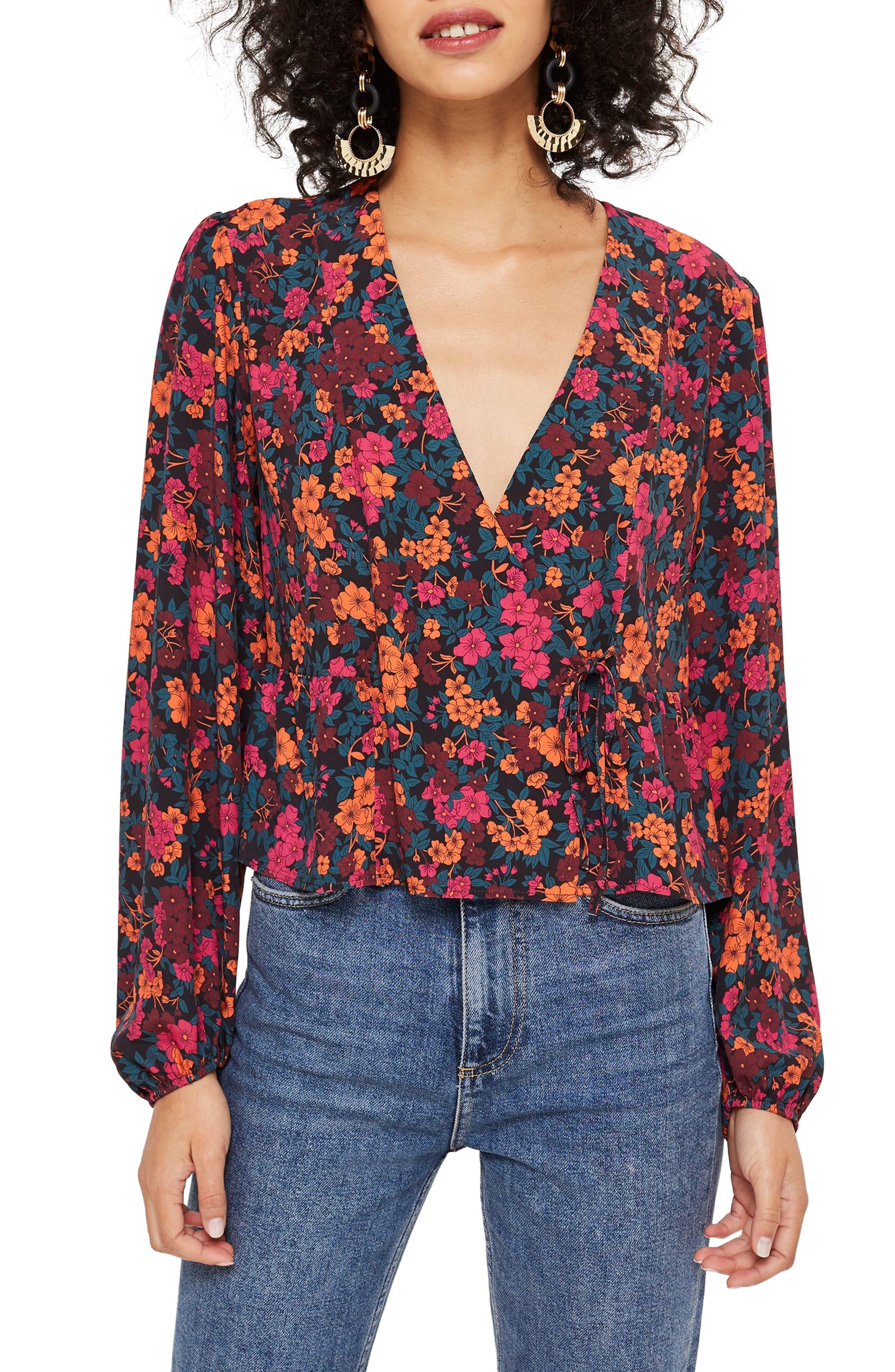 TOPSHOP, Grand Estate Floral Blouse, Main thumbnail 1, color, 600