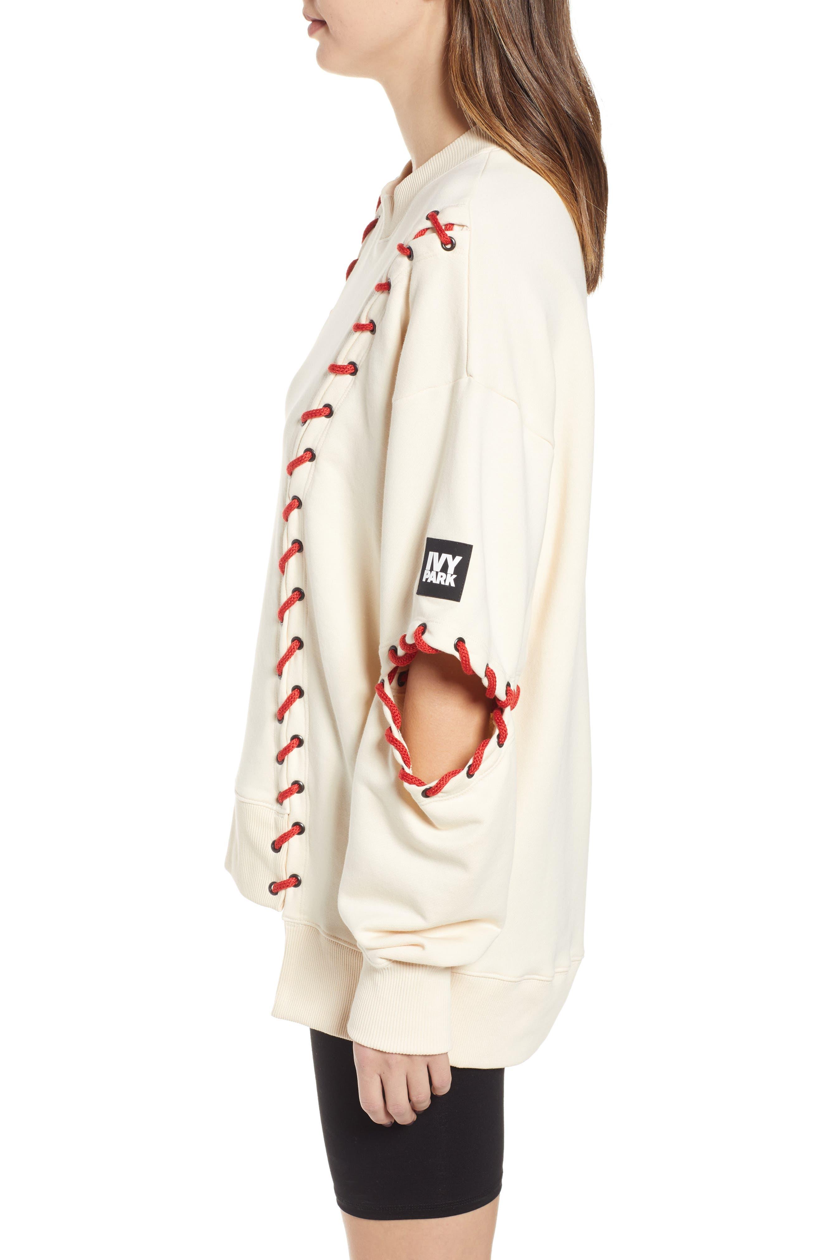 IVY PARK<SUP>®</SUP>, Baseball Stitch Sweatshirt, Alternate thumbnail 4, color, BRAZILIAN SAND