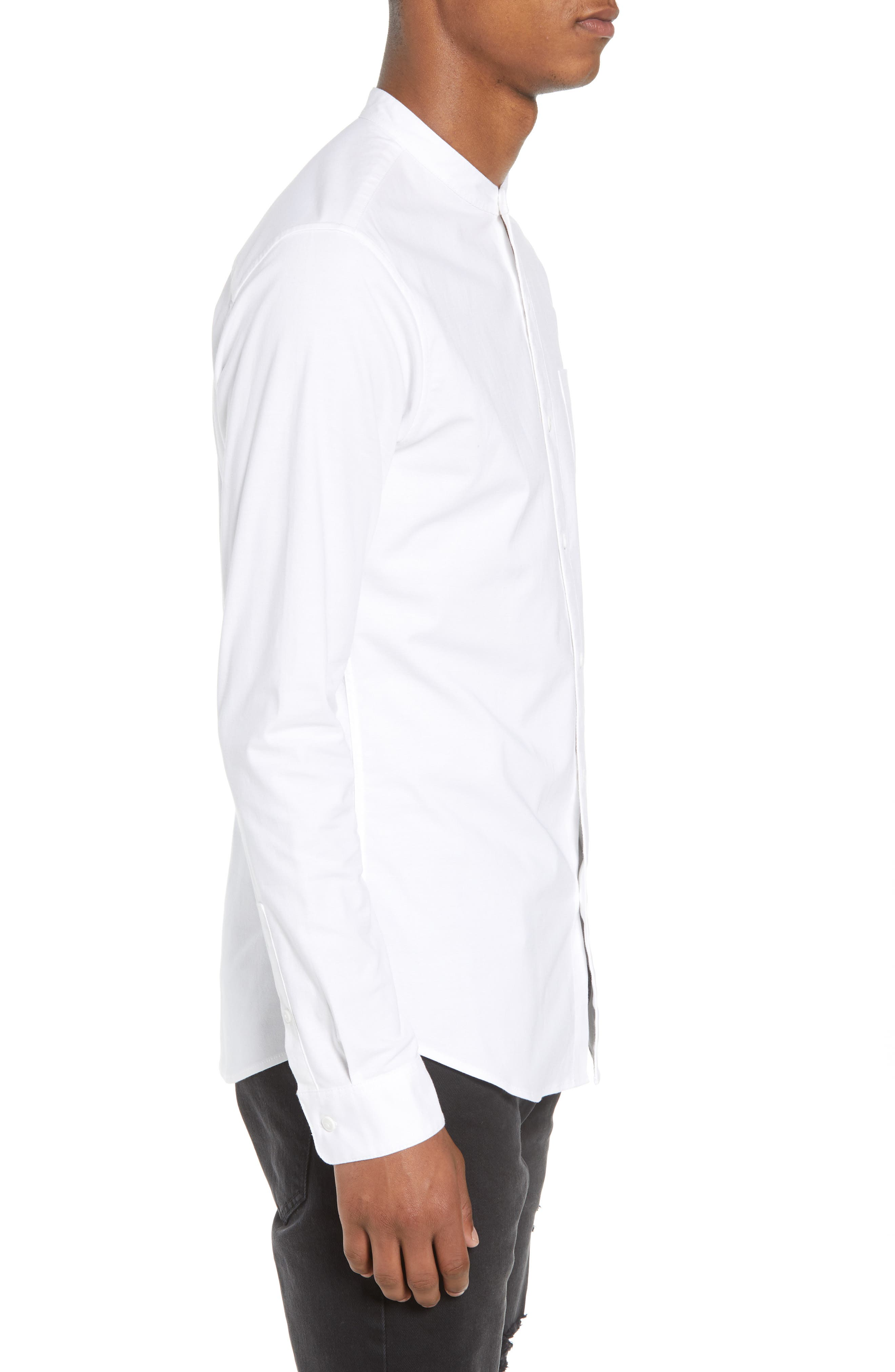 TOPMAN, Muscle Fit Band Collar Shirt, Alternate thumbnail 4, color, WHITE