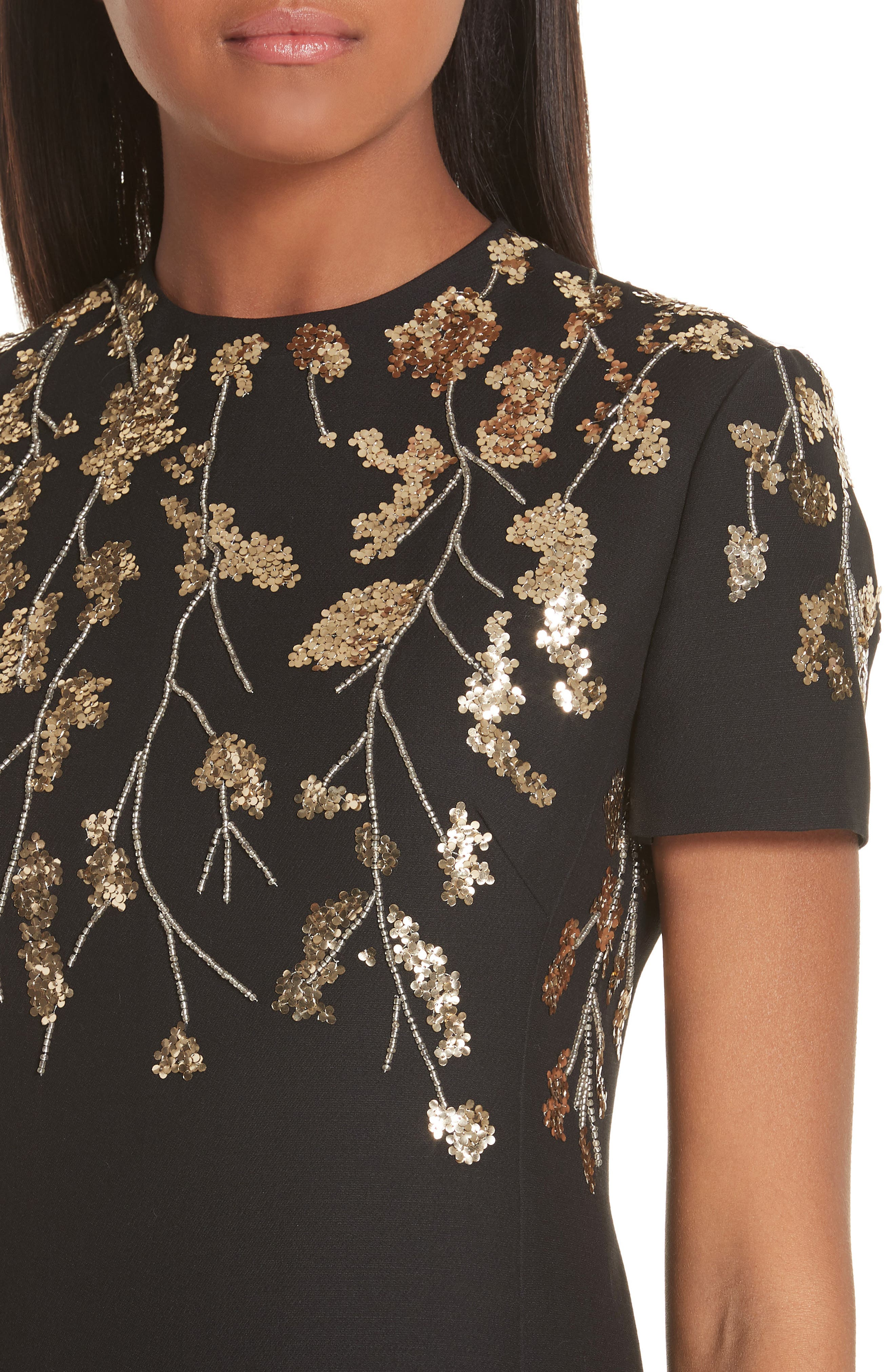 VALENTINO, Floral Embroidered Crepe Couture Dress, Alternate thumbnail 5, color, BLACK GOLD