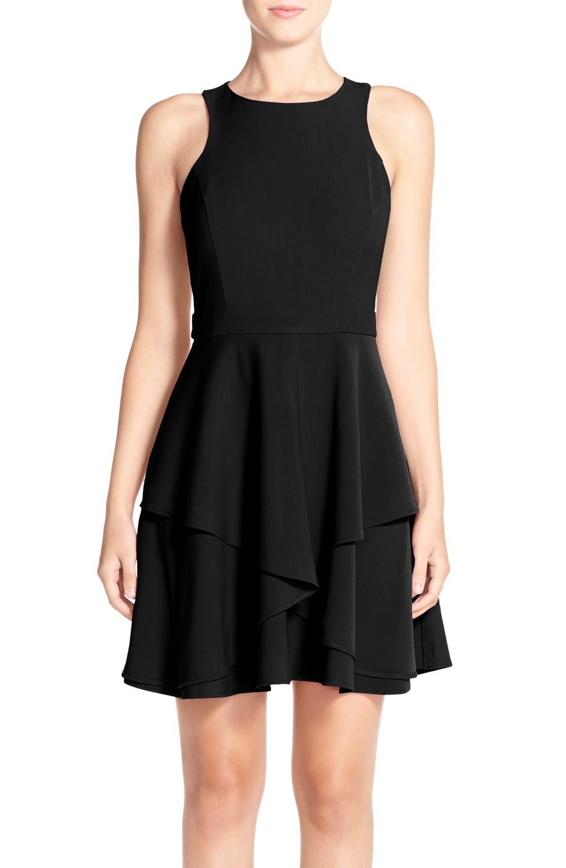 ADELYN RAE, AdelynRae GabardineFit & Flare Dress, Main thumbnail 1, color, 001