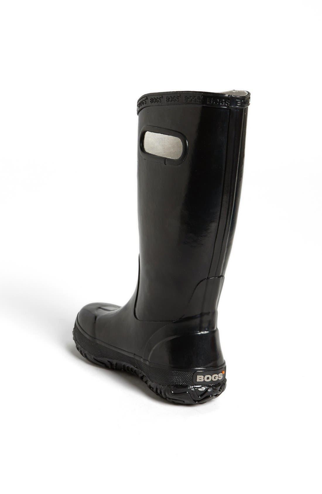 BOGS, Rubber Rain Boot, Alternate thumbnail 3, color, BLACK
