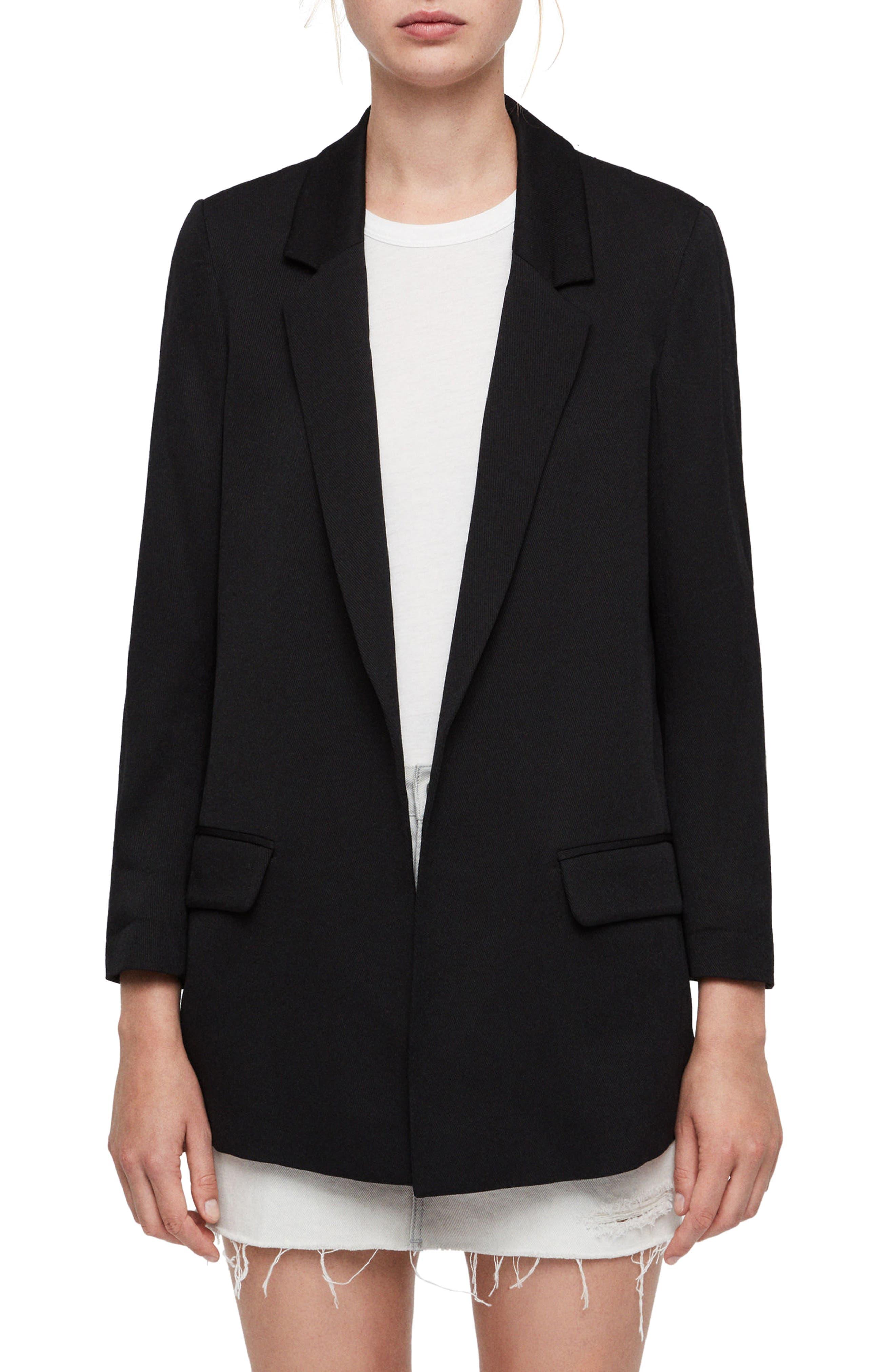 ALLSAINTS Aleida Open Front Blazer, Main, color, BLACK