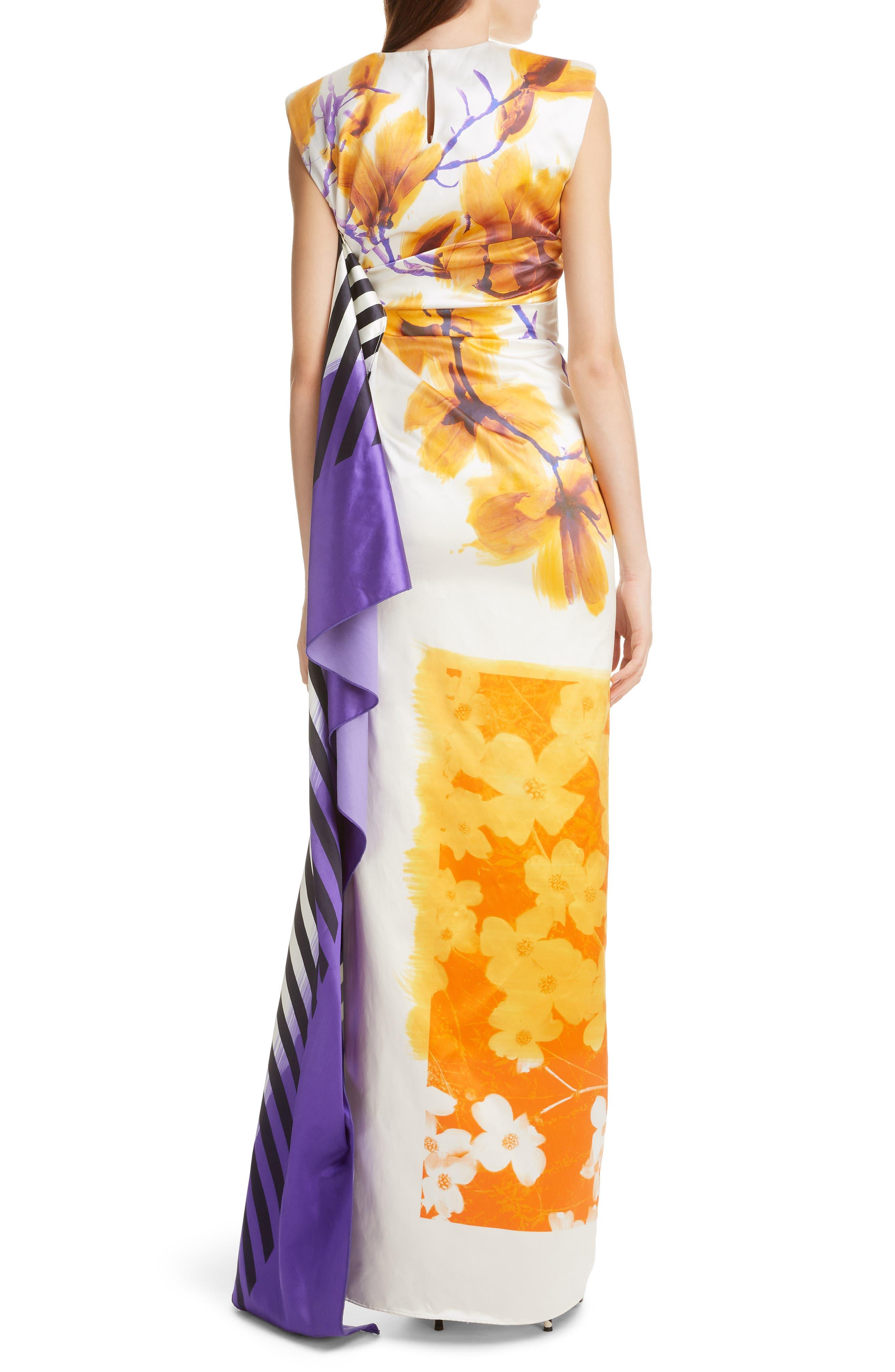 DRIES VAN NOTEN, Hand Painted Floral Evening Dress, Alternate thumbnail 2, color, 100