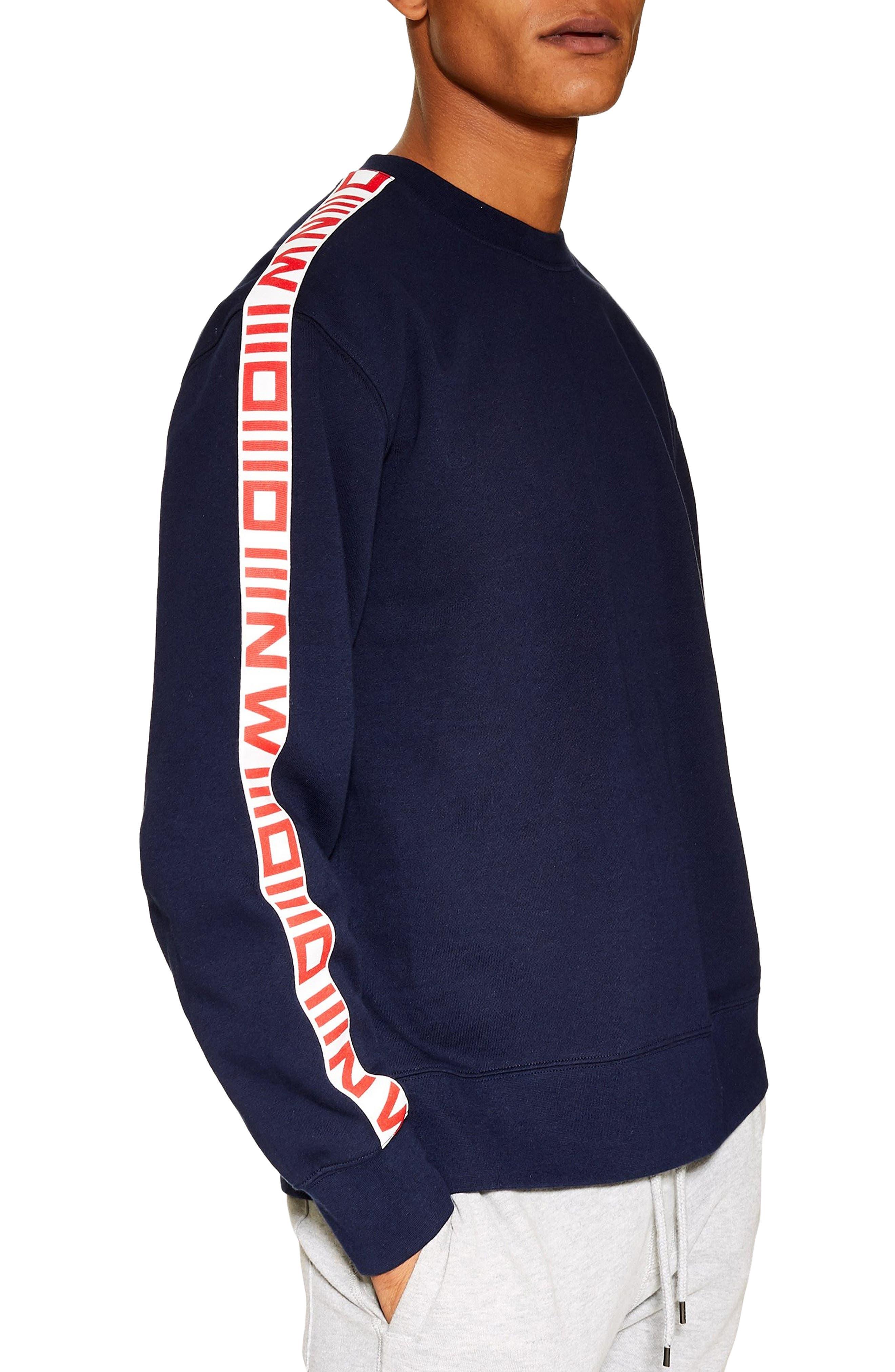 TOPMAN, Taped Crewneck Sweatshirt, Main thumbnail 1, color, NAVY MULTI