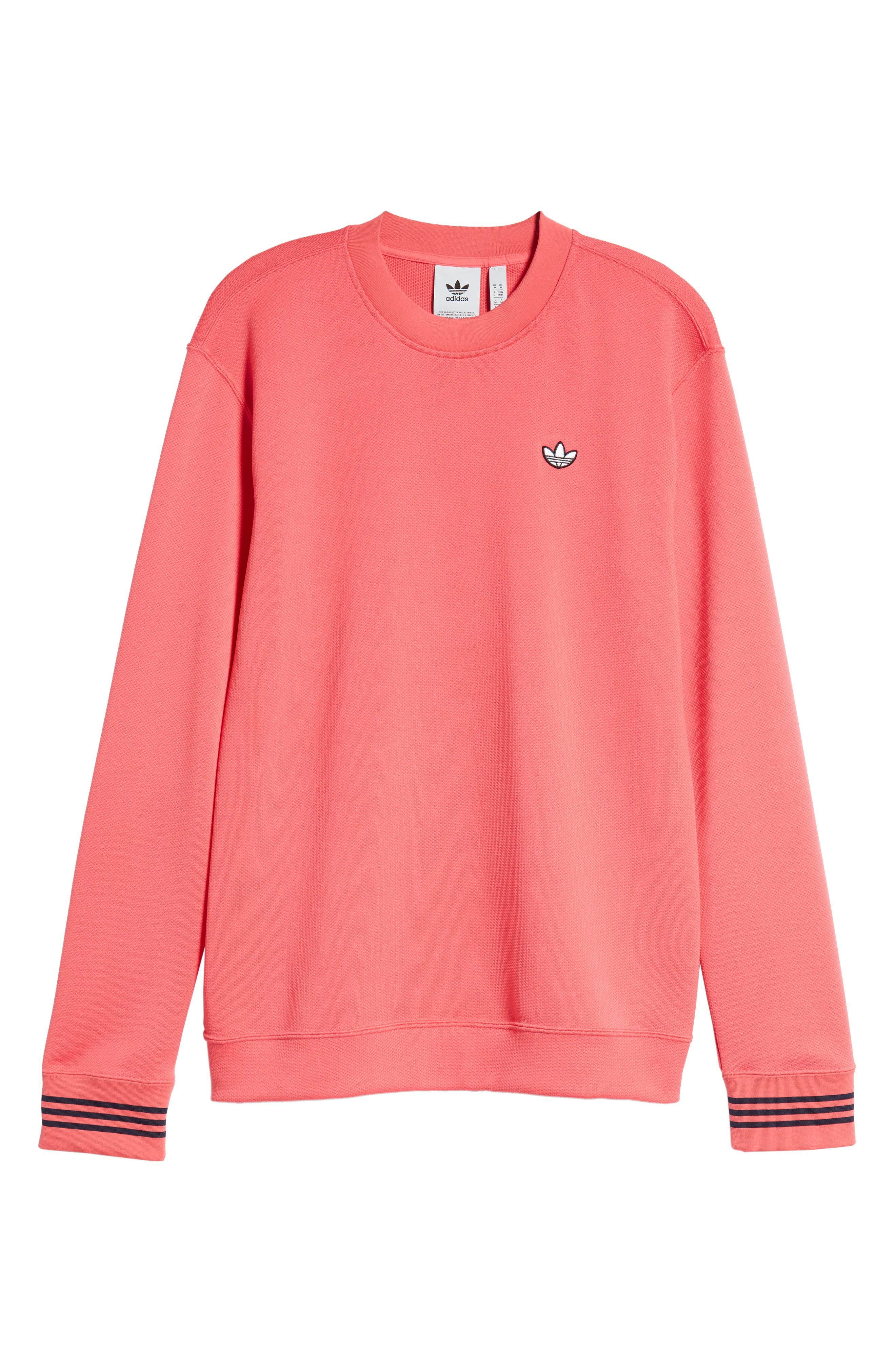 ADIDAS ORIGINALS, Piqué Long Sleeve T-Shirt, Alternate thumbnail 6, color, REAL PINK