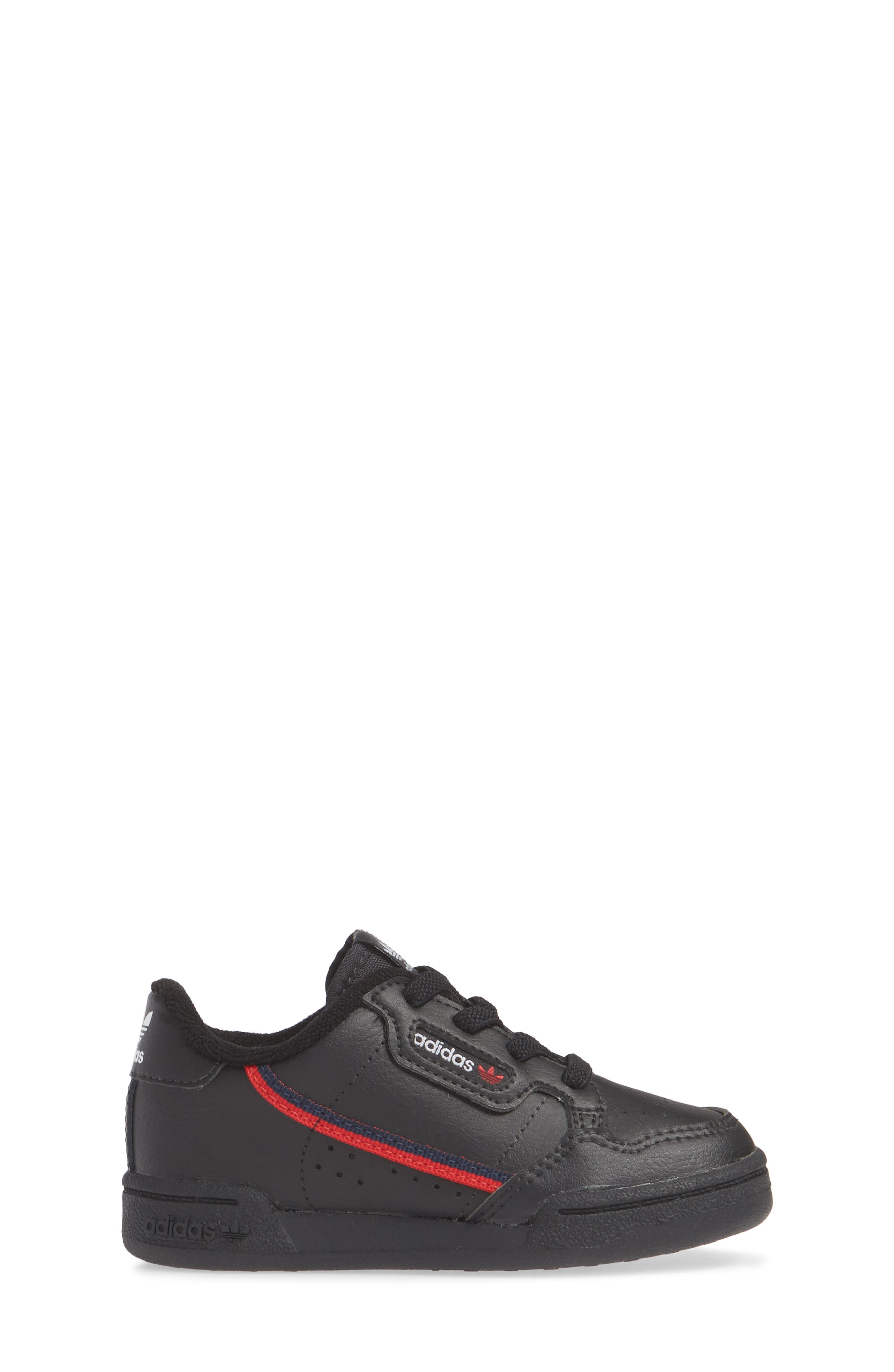 ADIDAS, Continental 80 Sneaker, Alternate thumbnail 3, color, CORE BLACK/ SCARLET/ NAVY
