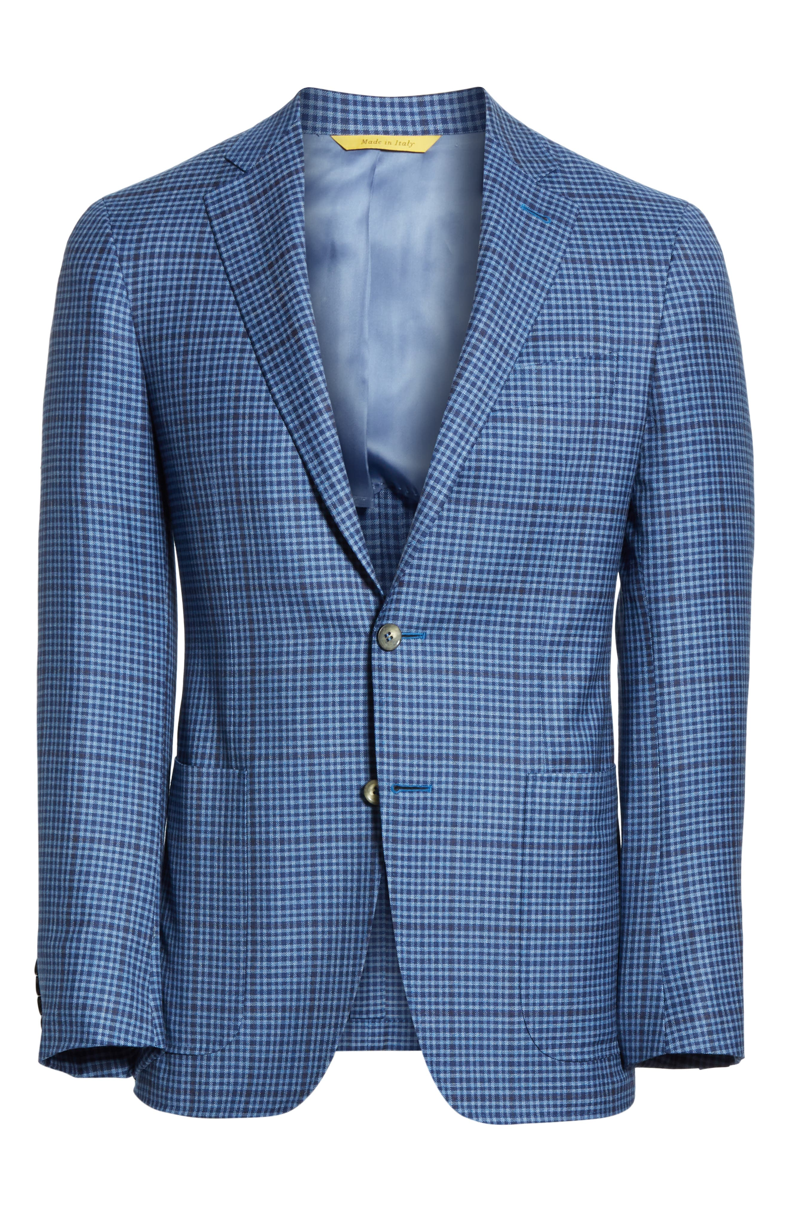 CANALI, Kei Classic Fit Check Wool Sport Coat, Alternate thumbnail 5, color, BLUE