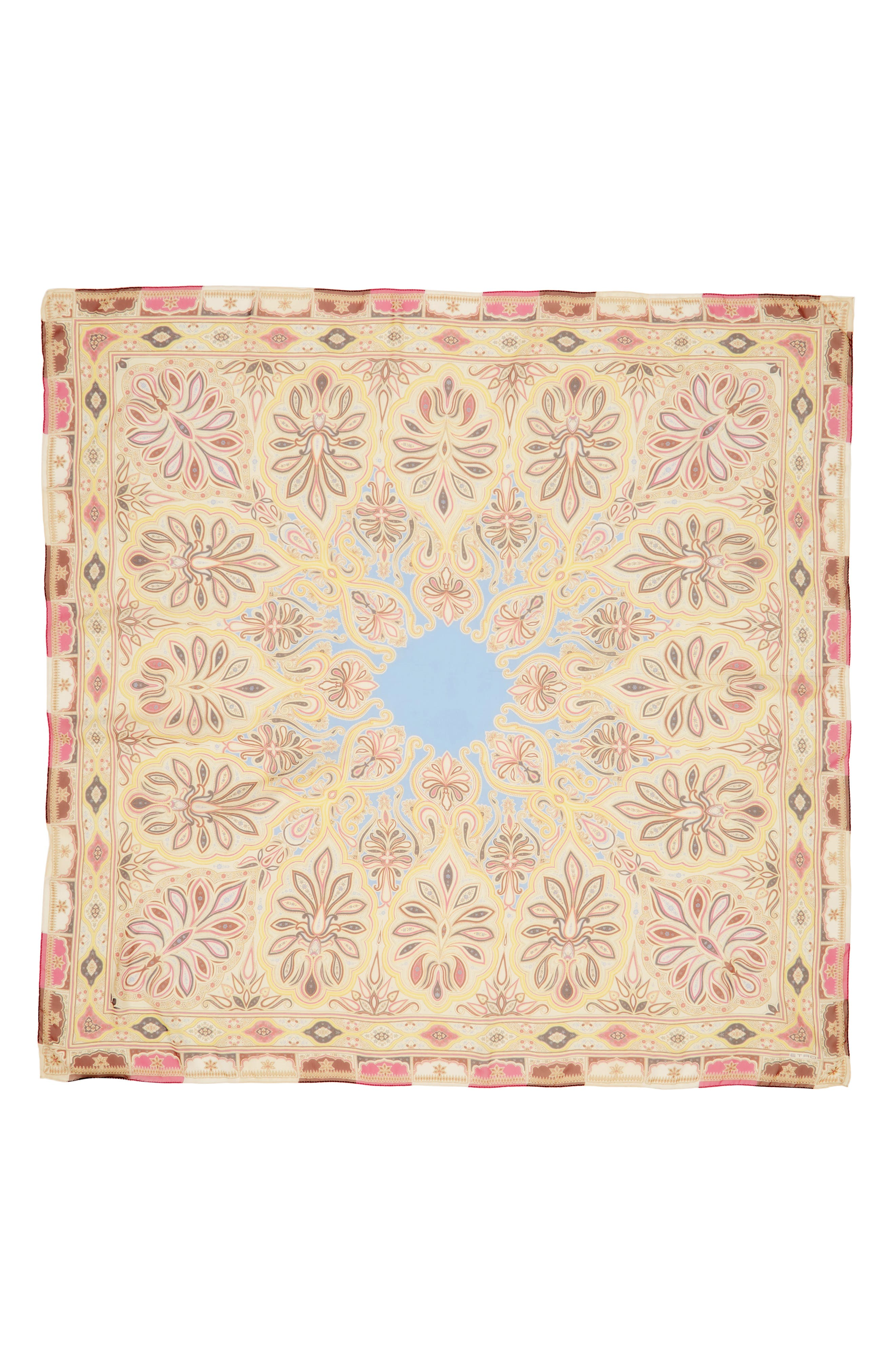 ETRO, Bombay Square Silk Scarf, Alternate thumbnail 2, color, RED