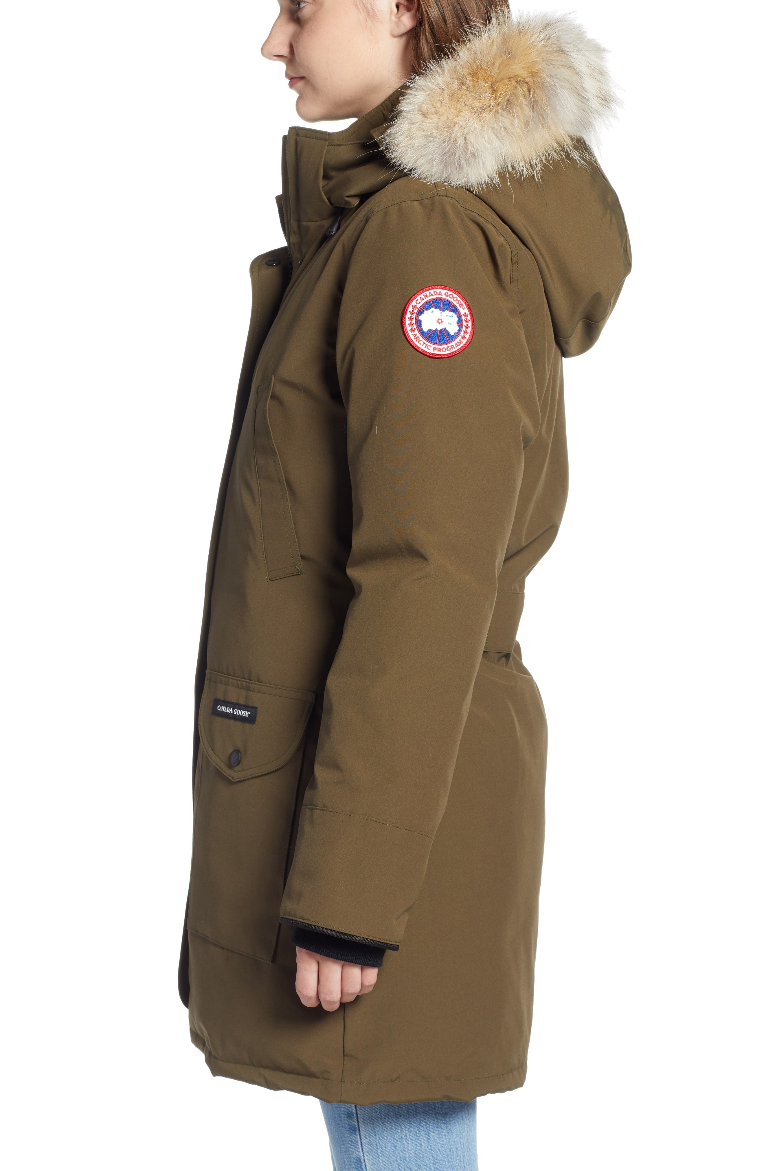 CANADA GOOSE, 'Trillium' Regular Fit Down Parka with Genuine Coyote Fur Trim, Alternate thumbnail 4, color, MILITARY GREEN