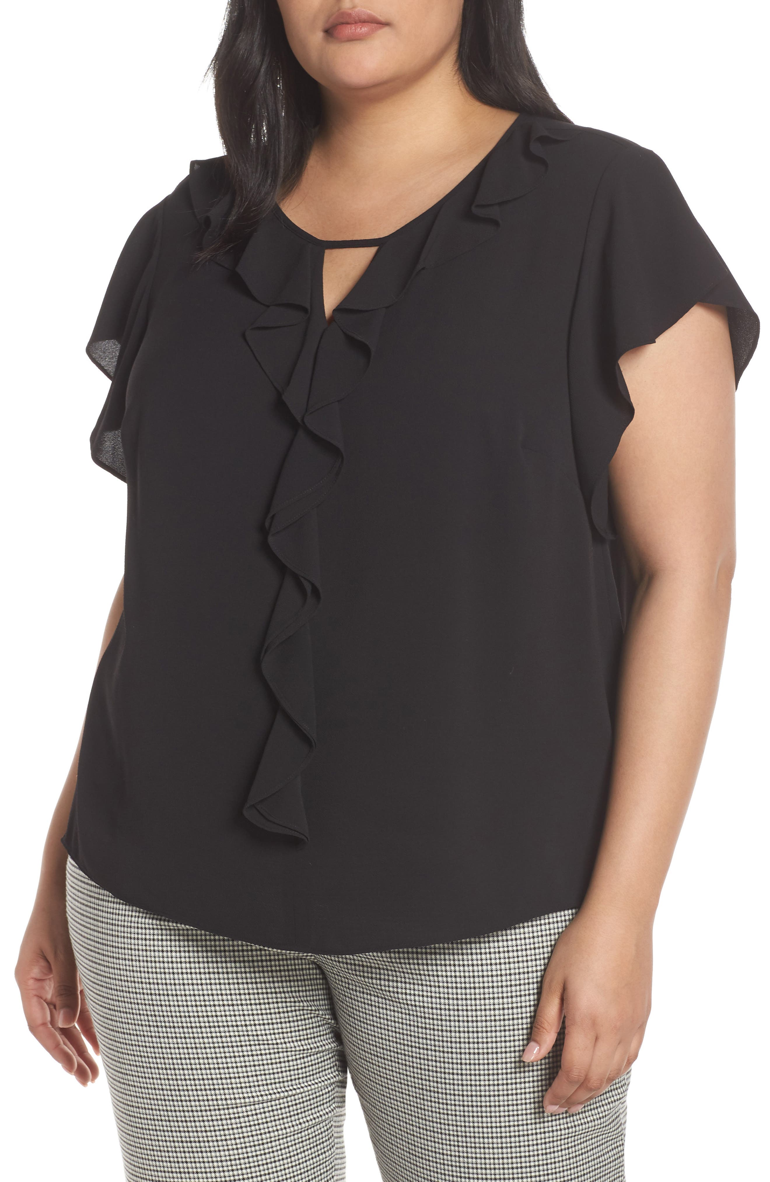 VINCE CAMUTO, Ruffle Flutter Sleeve Top, Main thumbnail 1, color, RICH BLACK