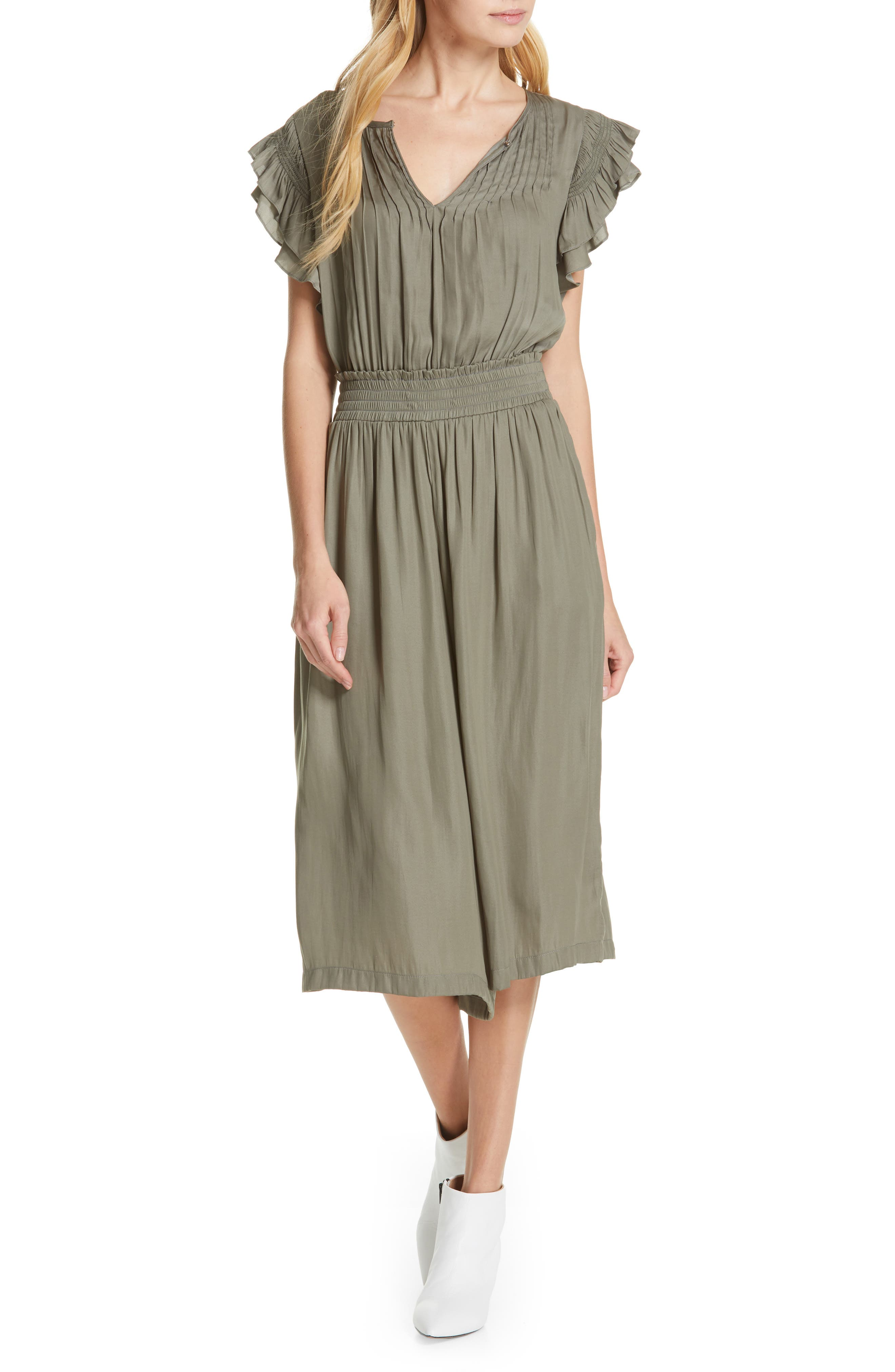 DOLAN, Carrie Pintucked Jumpsuit, Main thumbnail 1, color, SAGE