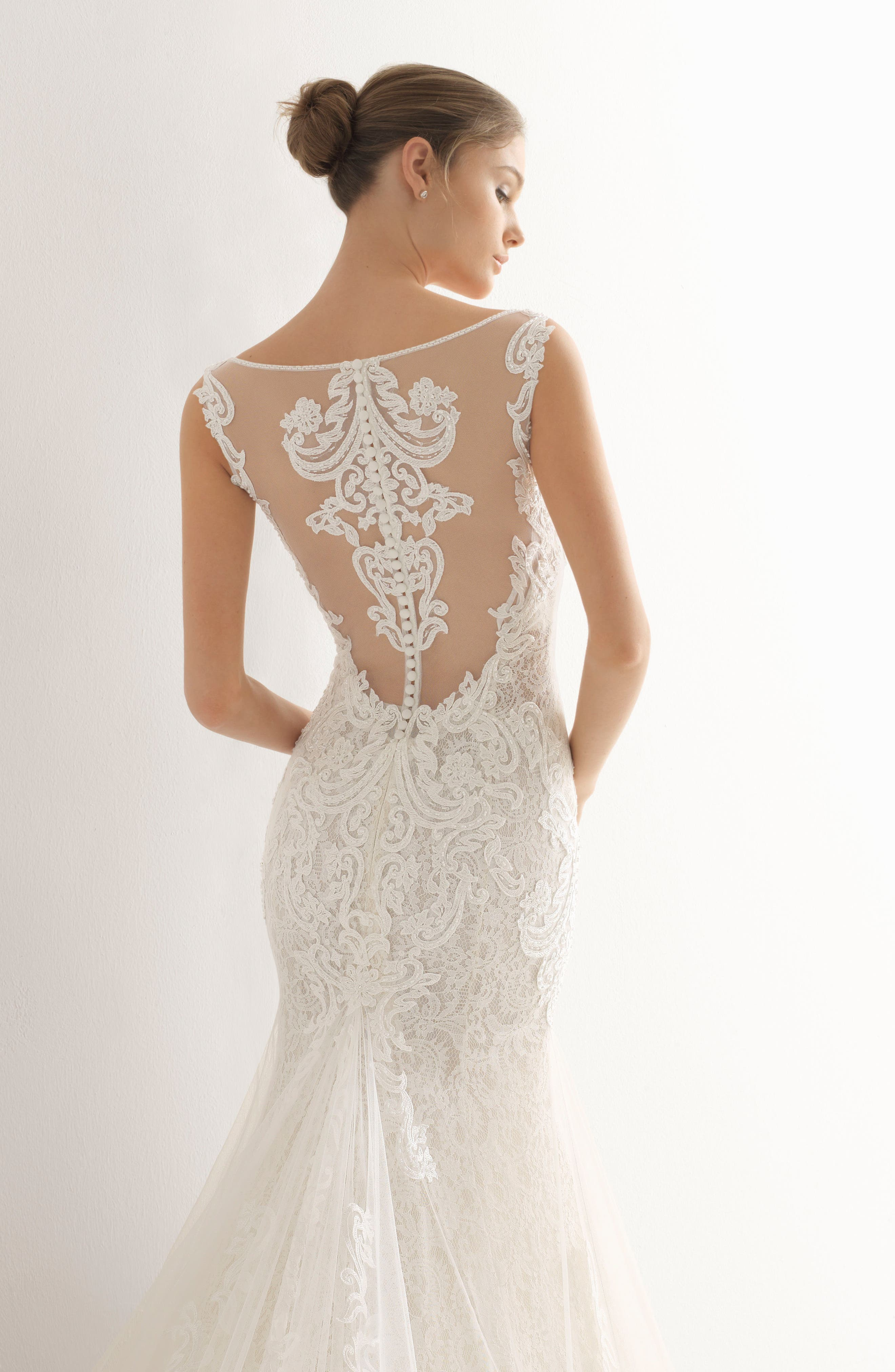 ROSA CLARÁ, Abac Sweetheart Illusion Back Mermaid Gown, Alternate thumbnail 2, color, NATURAL/NUDE