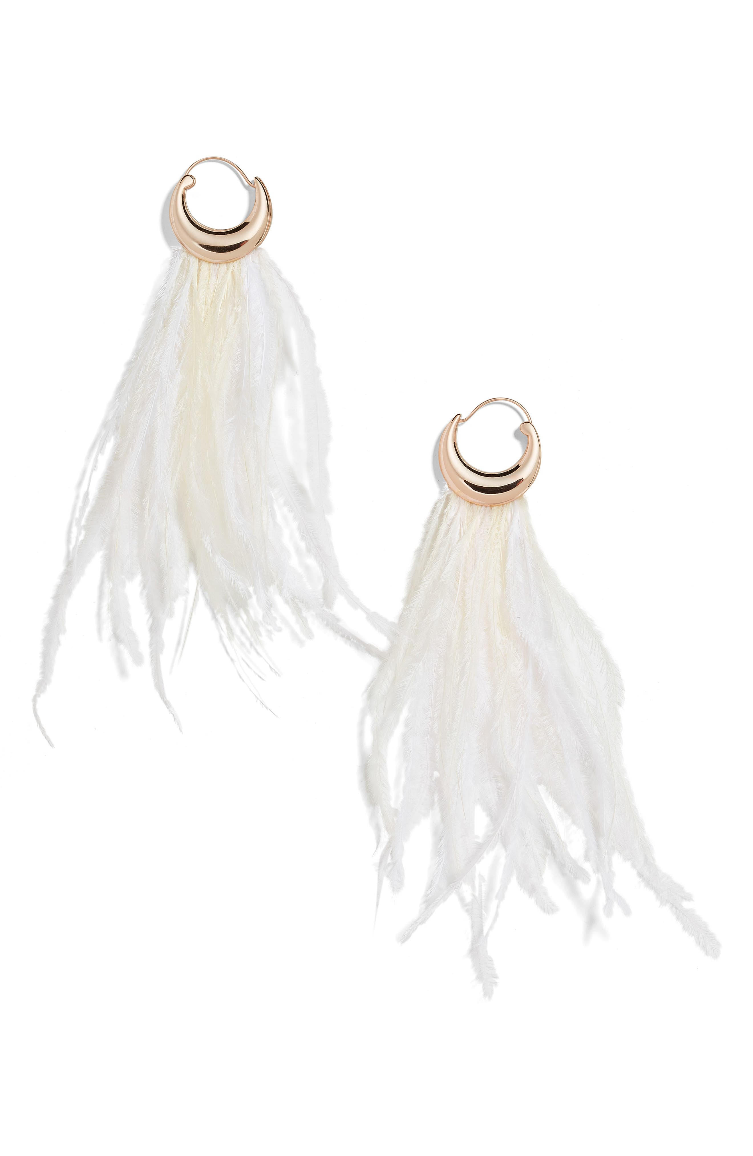 BAUBLEBAR Charla Feather Drop Earrings, Main, color, IVORY/ BLUSH