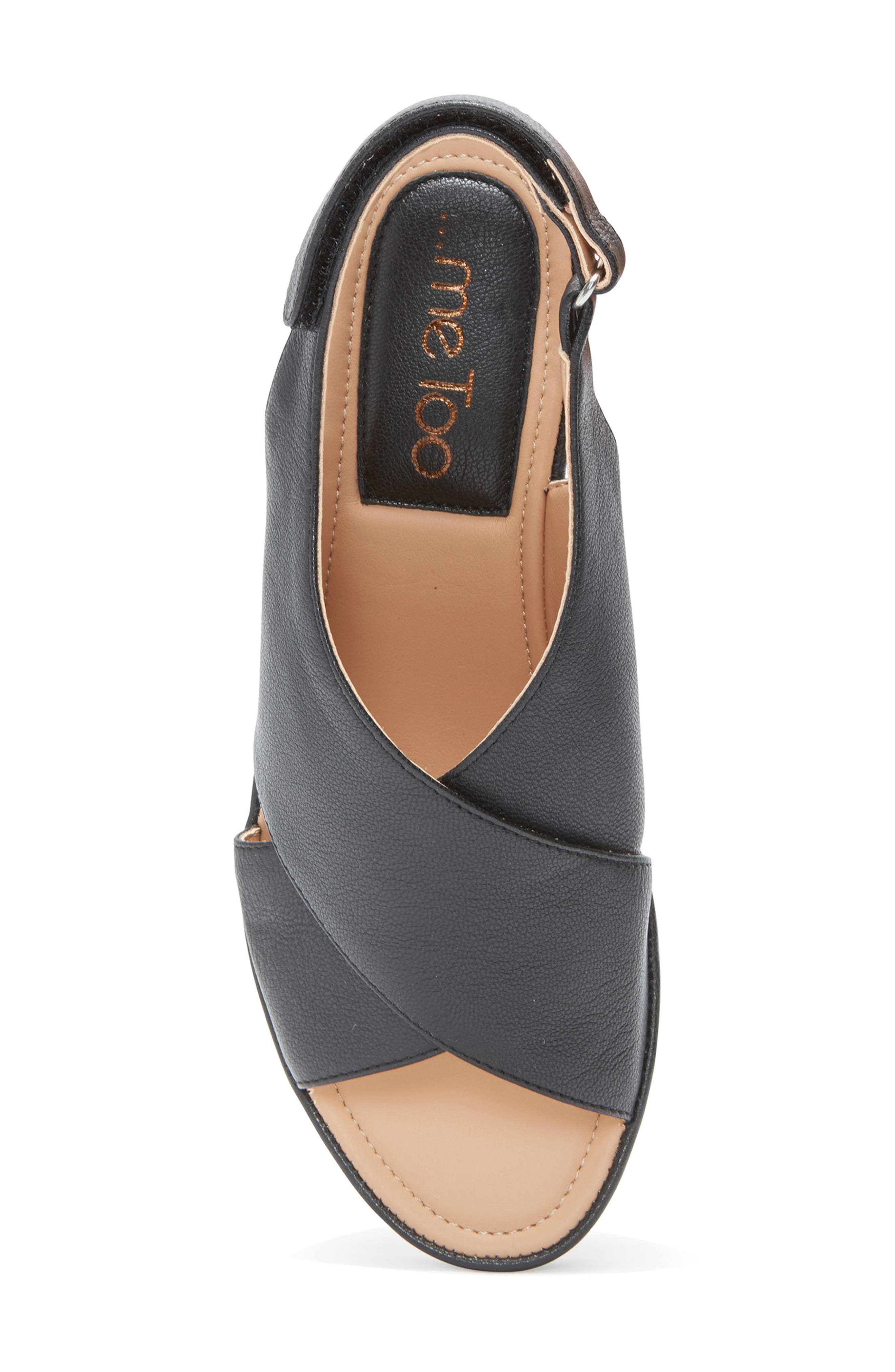 ME TOO, Arena Wedge Sandal, Alternate thumbnail 5, color, BLACK LEATHER
