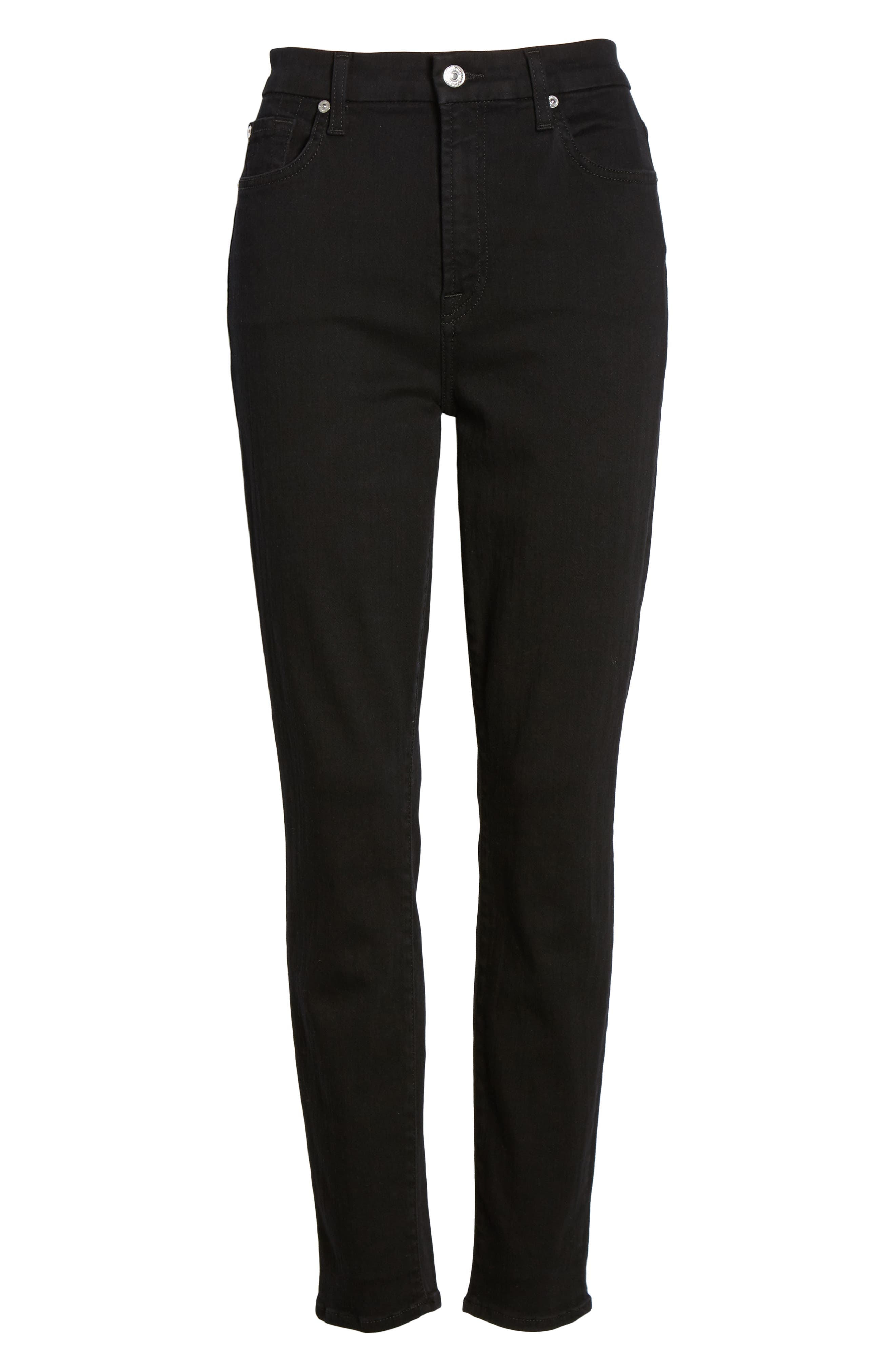 7 FOR ALL MANKIND<SUP>®</SUP>, Aubrey Super High Waist Ankle Skinny Jeans, Alternate thumbnail 7, color, PITCH BLACK