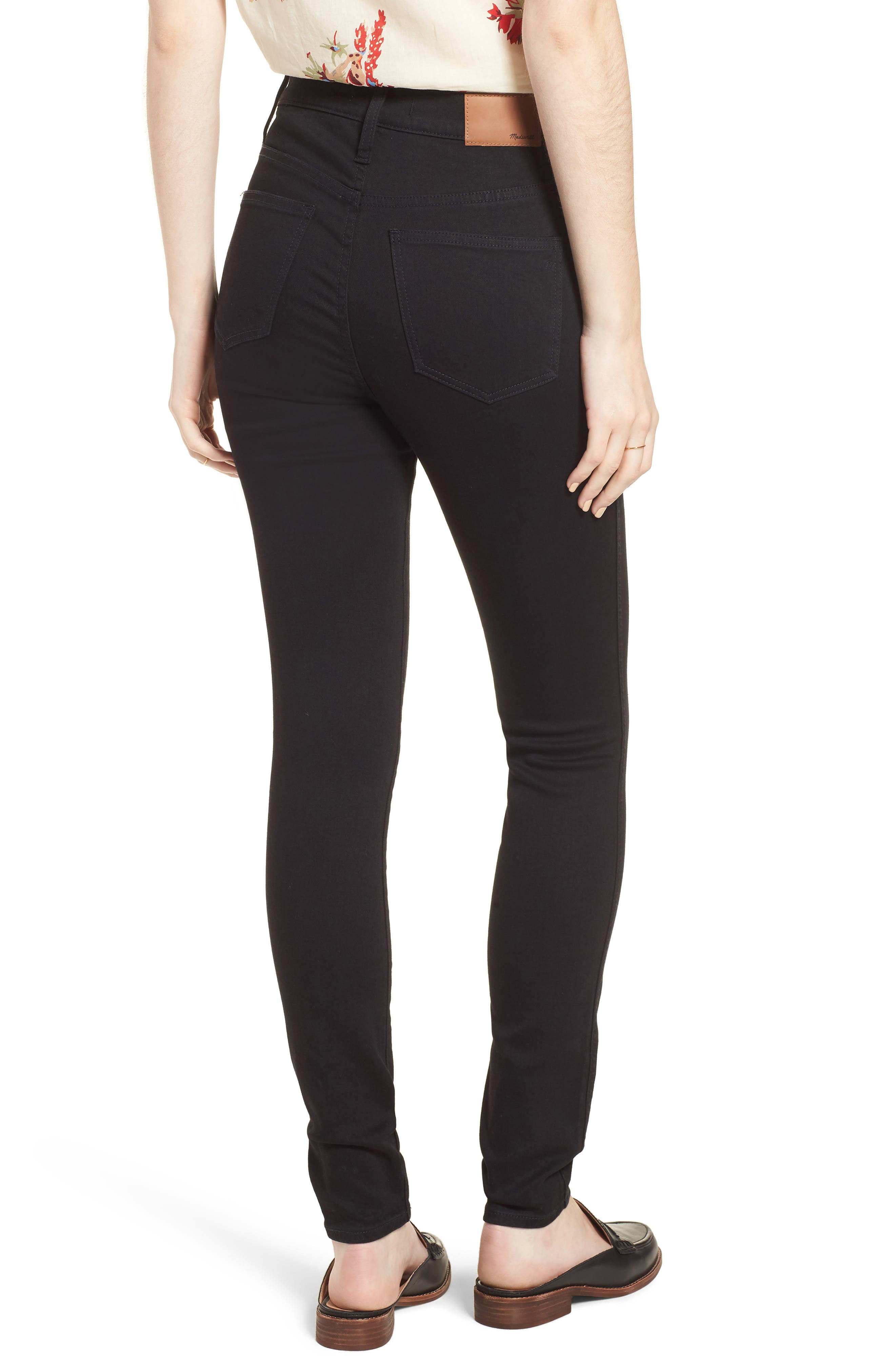 MADEWELL, 10-Inch High Waist Skinny Jeans, Alternate thumbnail 2, color, 001