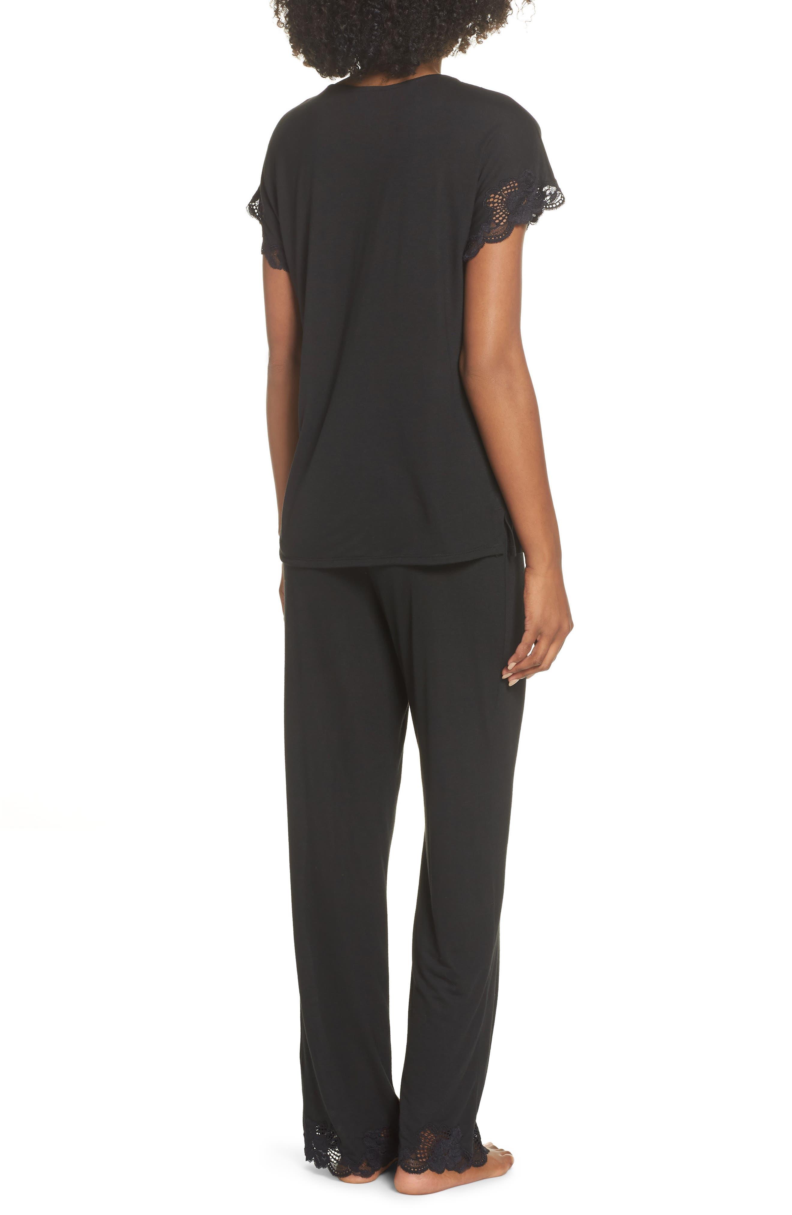 NATORI, 'Zen Floral' Pajama Set, Alternate thumbnail 2, color, BLACK