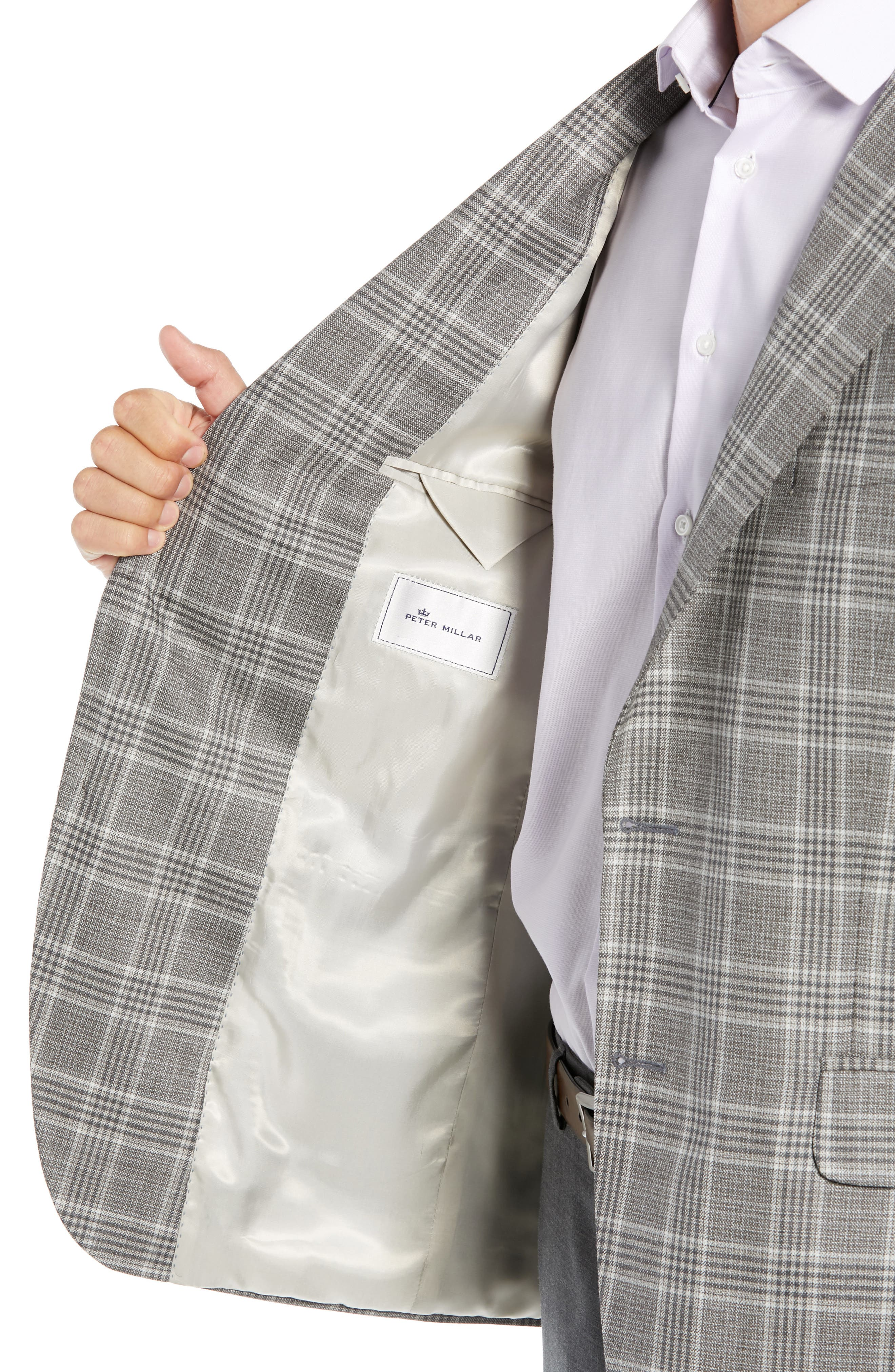PETER MILLAR, Hyperlight Classic Fit Plaid Wool Sport Coat, Alternate thumbnail 4, color, GREY