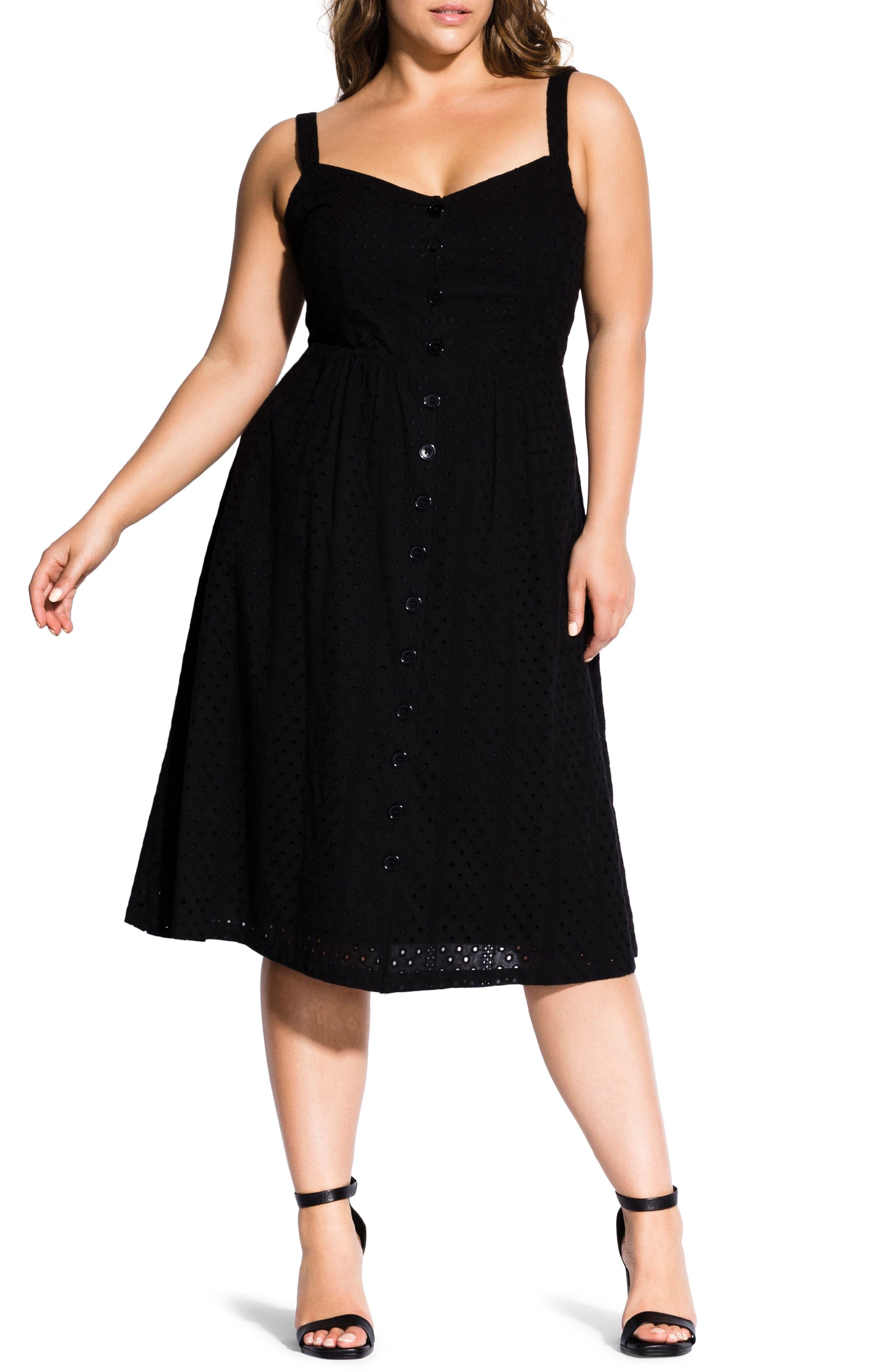 Plus Size City Chic Eyelet Love Dress, Black