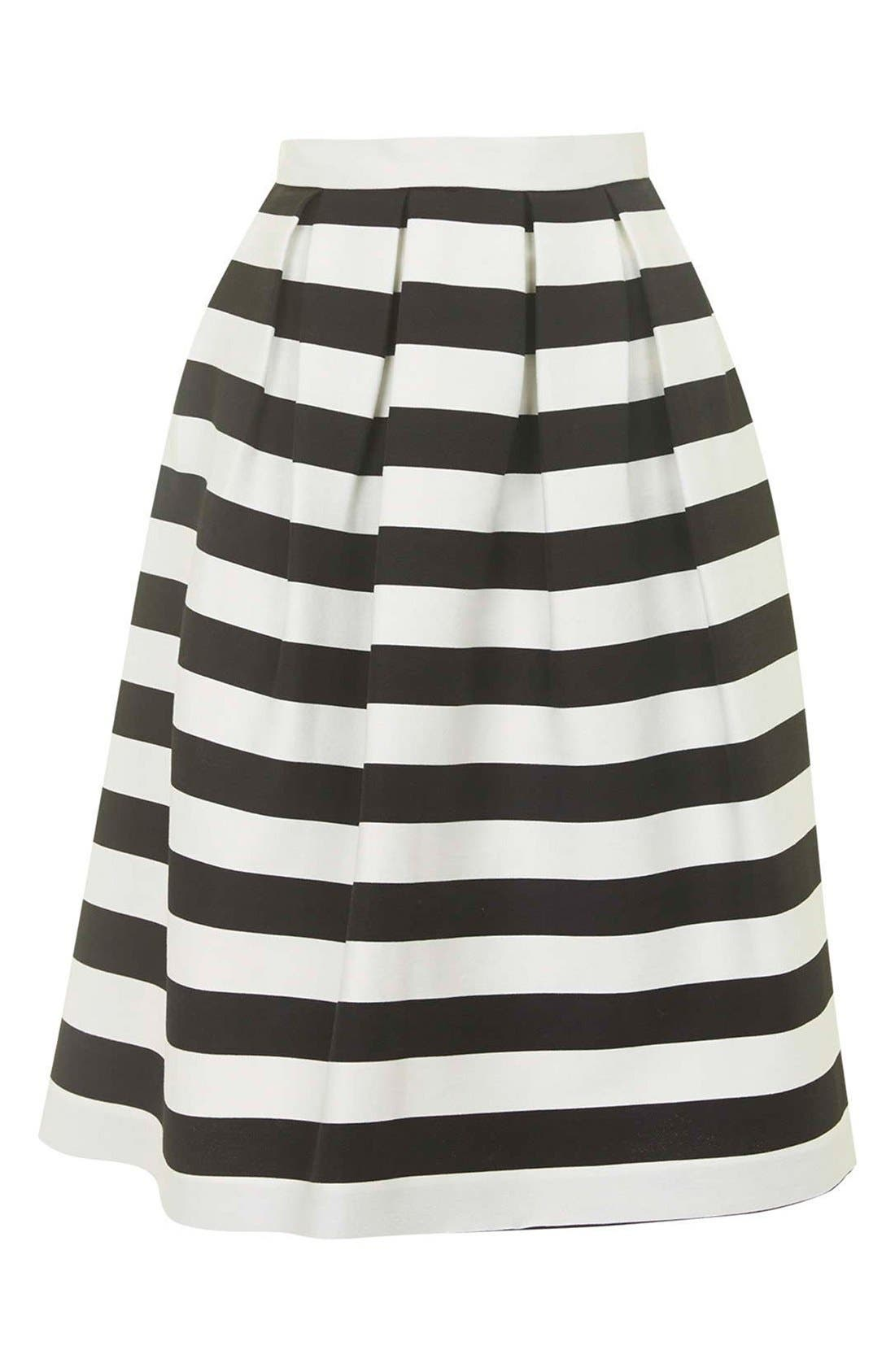 TOPSHOP, Stripe Midi Skirt, Alternate thumbnail 4, color, 001