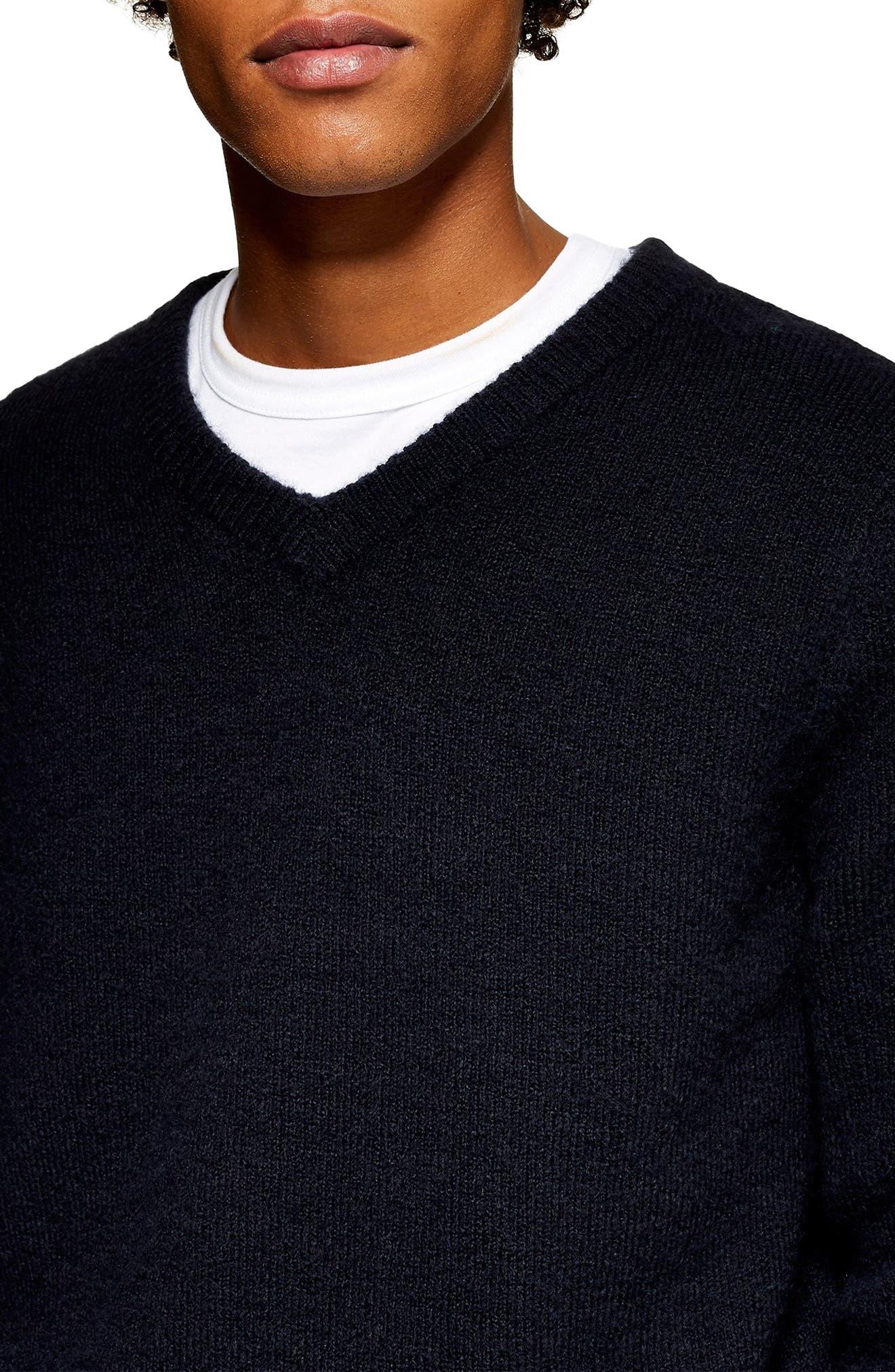 TOPMAN, V-Neck Sweater, Alternate thumbnail 3, color, 411