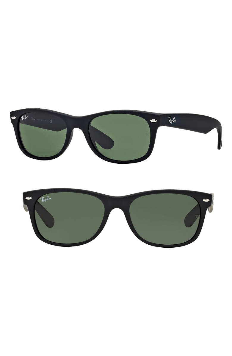Ray Ban Sunglasses STANDARD NEW WAYFARER 55MM SUNGLASSES - BLACK RUBBER