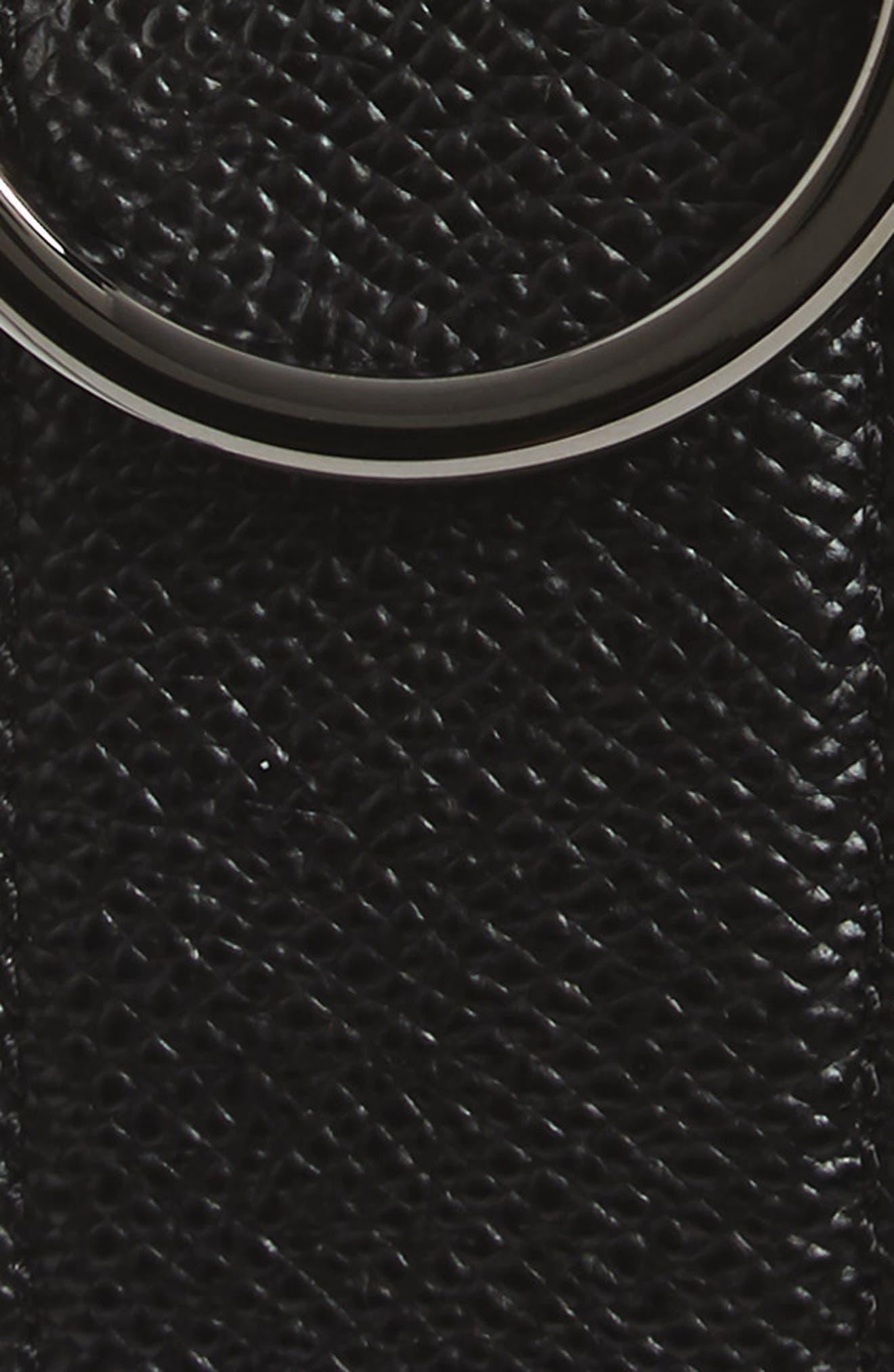 SALVATORE FERRAGAMO, Double Gancio Leather Belt, Alternate thumbnail 2, color, BLACK/ T MORO