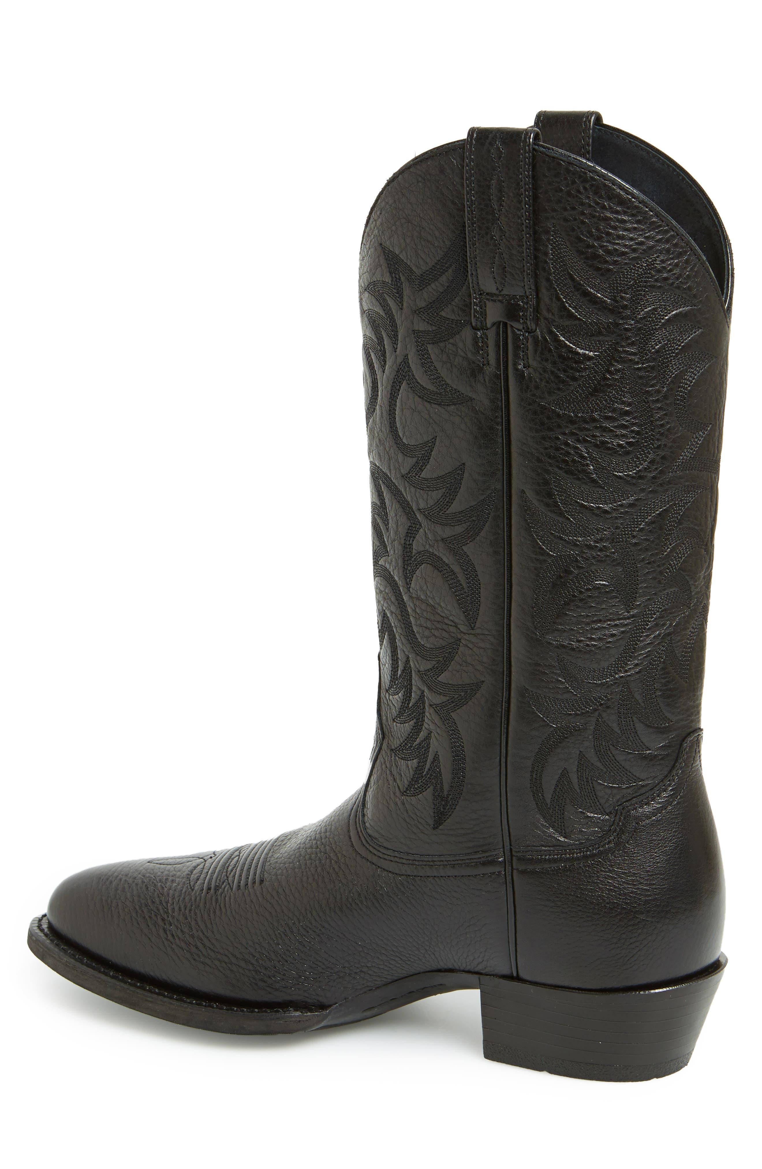 ARIAT, 'Heritage' Leather Cowboy R-Toe Boot, Alternate thumbnail 6, color, BLACK DEERTAN