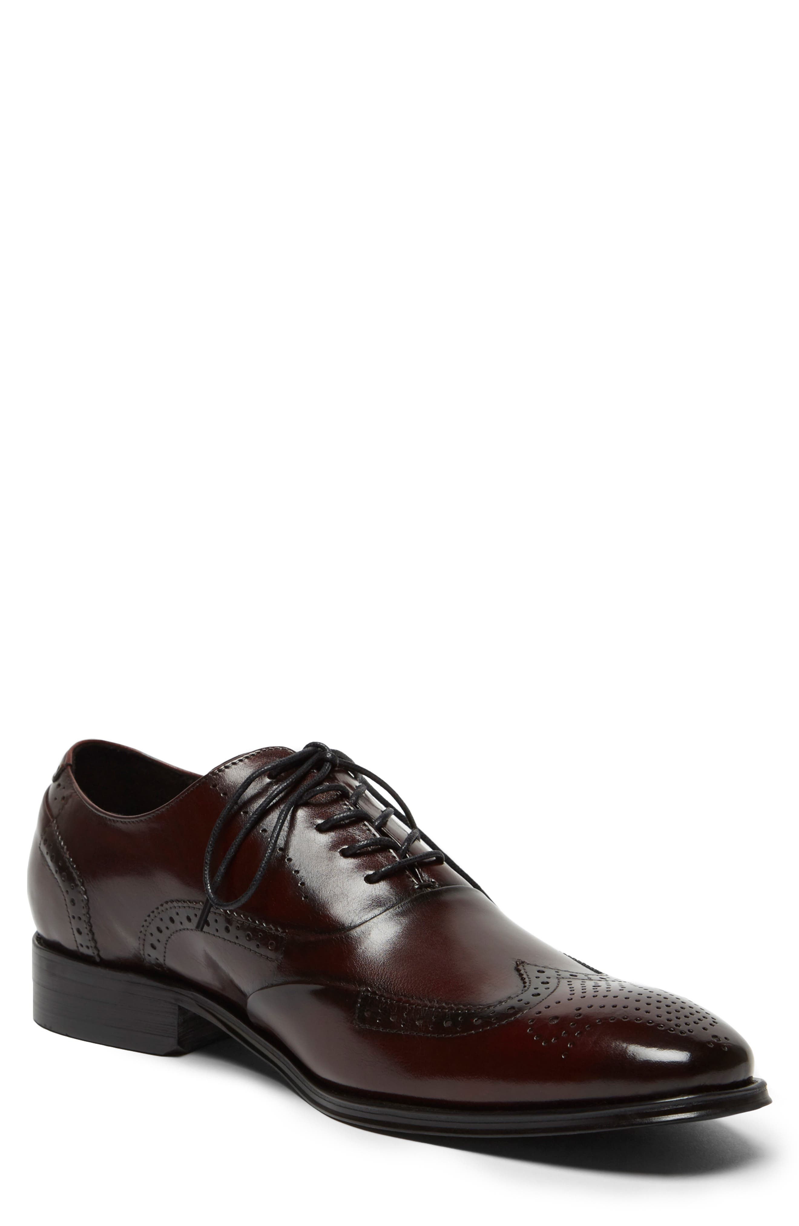 KENNETH COLE NEW YORK, Brant Wingtip, Main thumbnail 1, color, BORDEAUX LEATHER