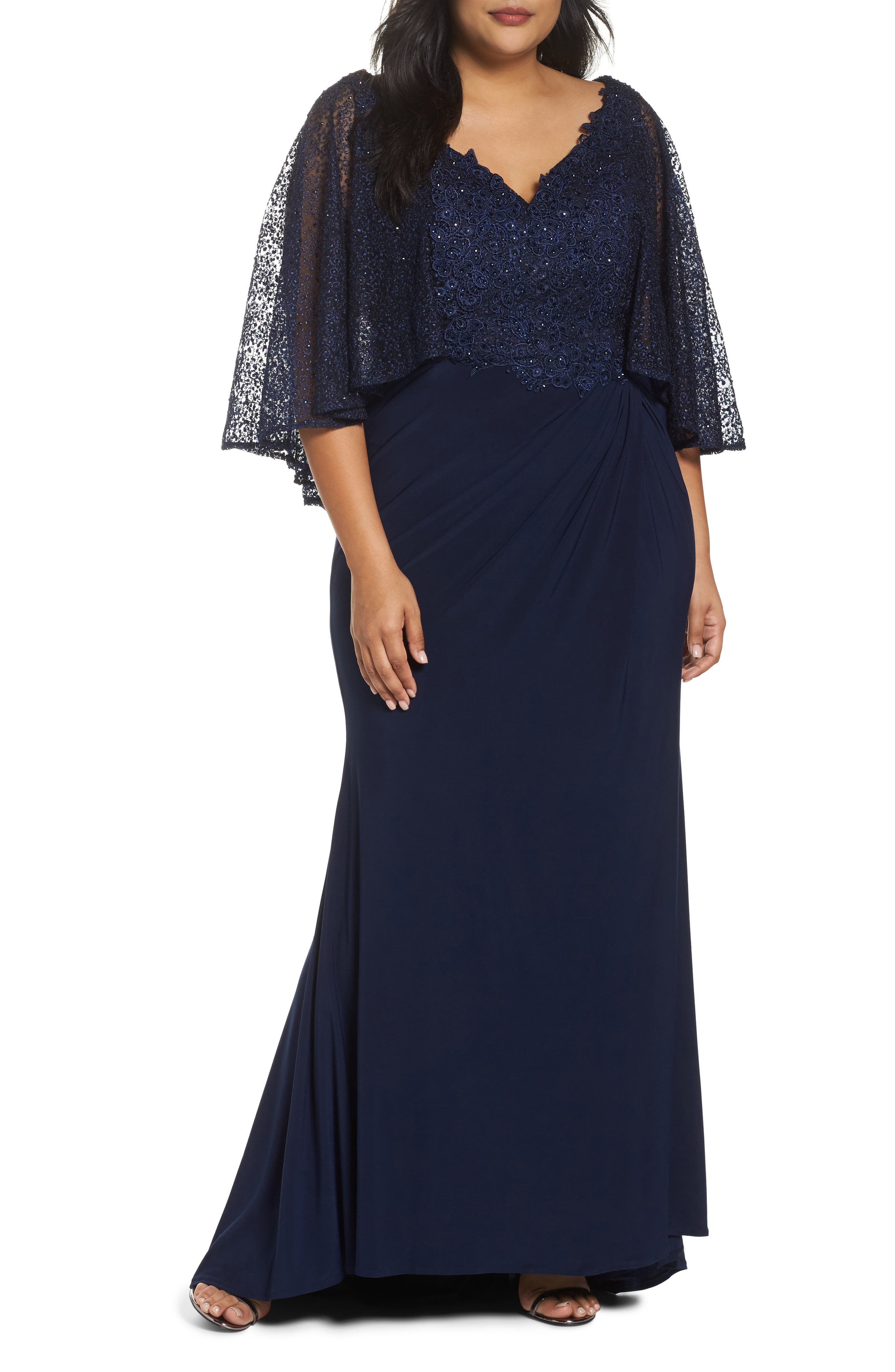 Plus Size MAC Duggal Lace Capelet Column Gown, Blue
