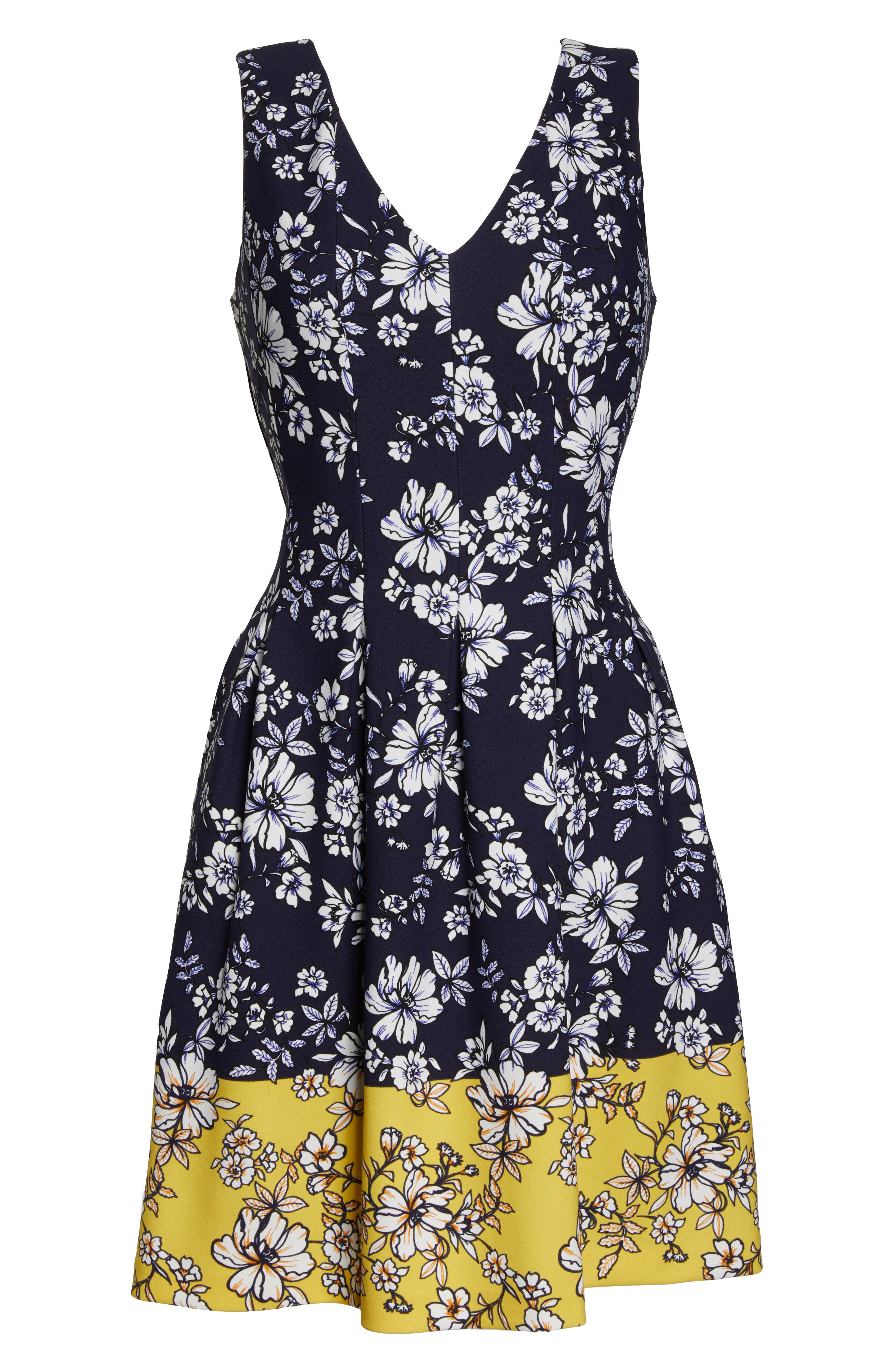 VINCE CAMUTO, Floral Print Pleated Fit & Flare Dress, Alternate thumbnail 7, color, NAVY/ YELLOW