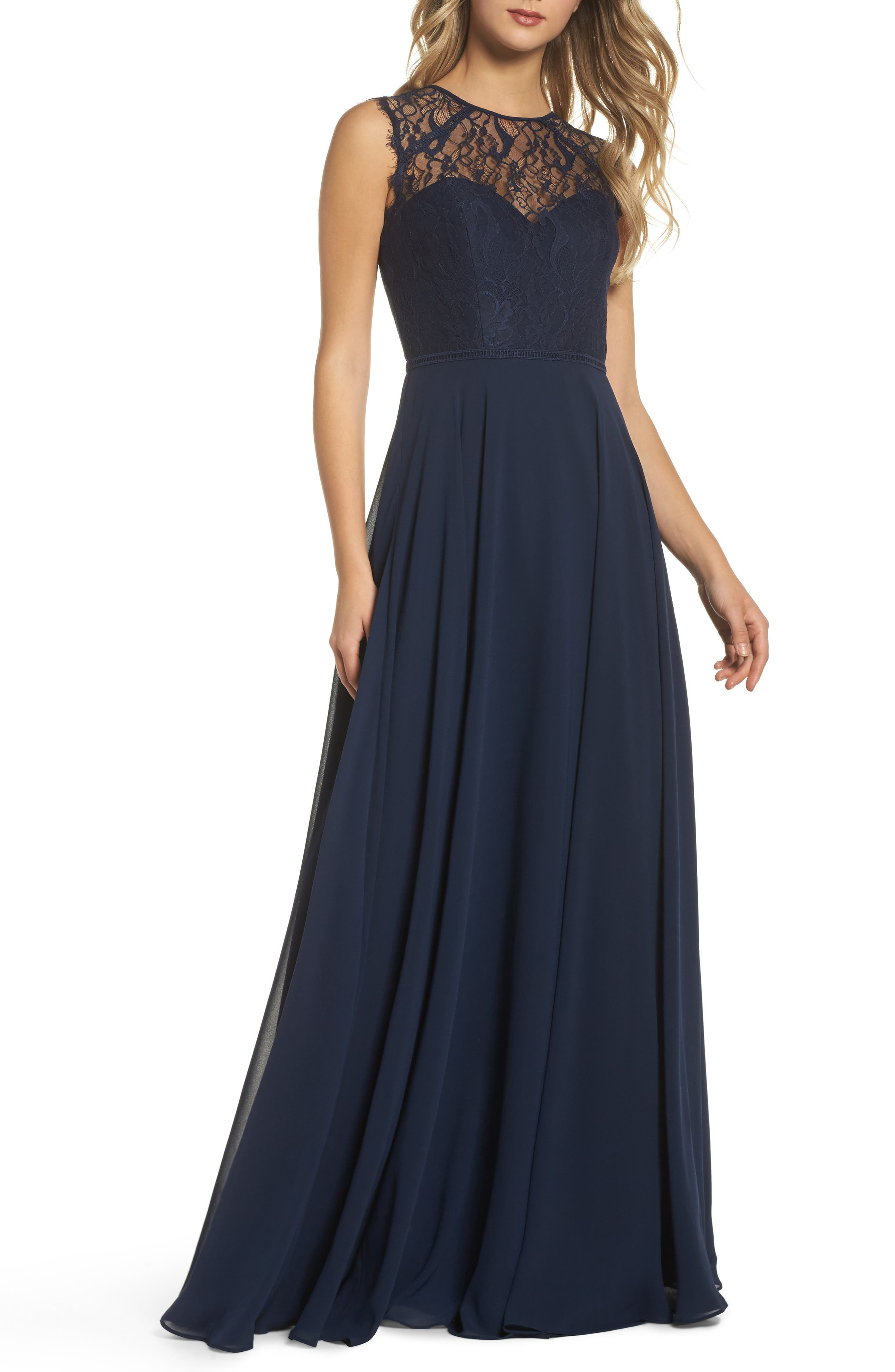 HAYLEY PAIGE OCCASIONS, Lace & Chiffon Gown, Main thumbnail 1, color, NAVY