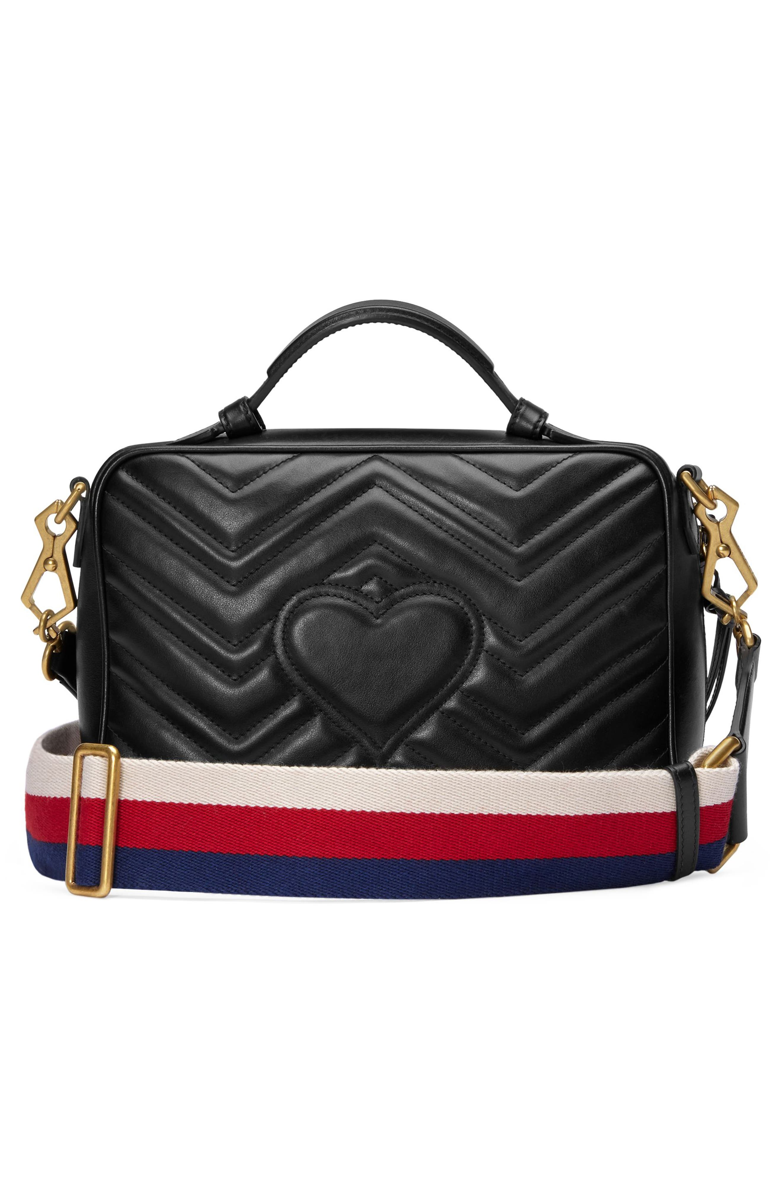 GUCCI, Small GG Marmont 2.0 Matelassé Leather Camera Bag with Webbed Strap, Alternate thumbnail 2, color, NERO/ WHITE/ HIBISCUS RED