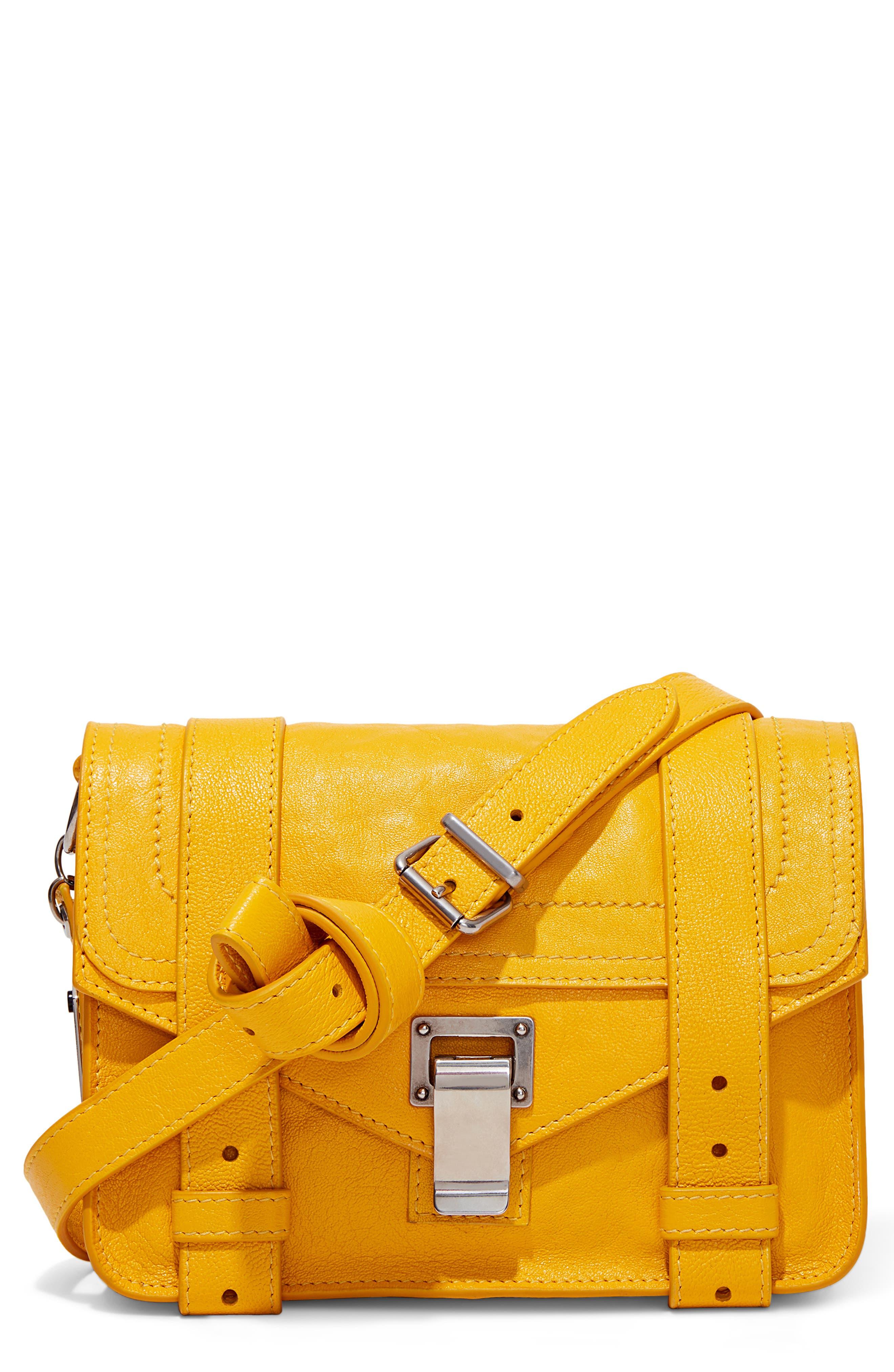 PROENZA SCHOULER, 'Mini PS1' Lambskin Leather Crossbody Bag, Main thumbnail 1, color, LEMON CHROME
