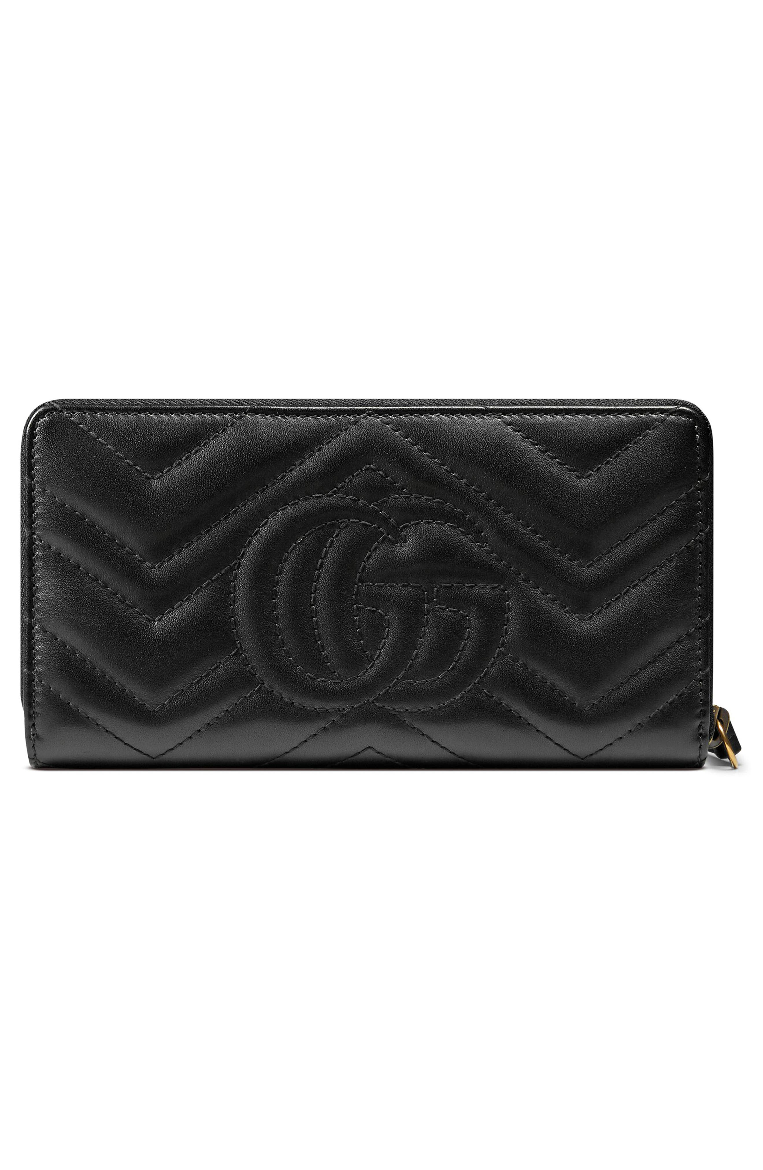 GUCCI, GG Marmont Matelassé Leather Zip-Around Wallet, Alternate thumbnail 3, color, NERO