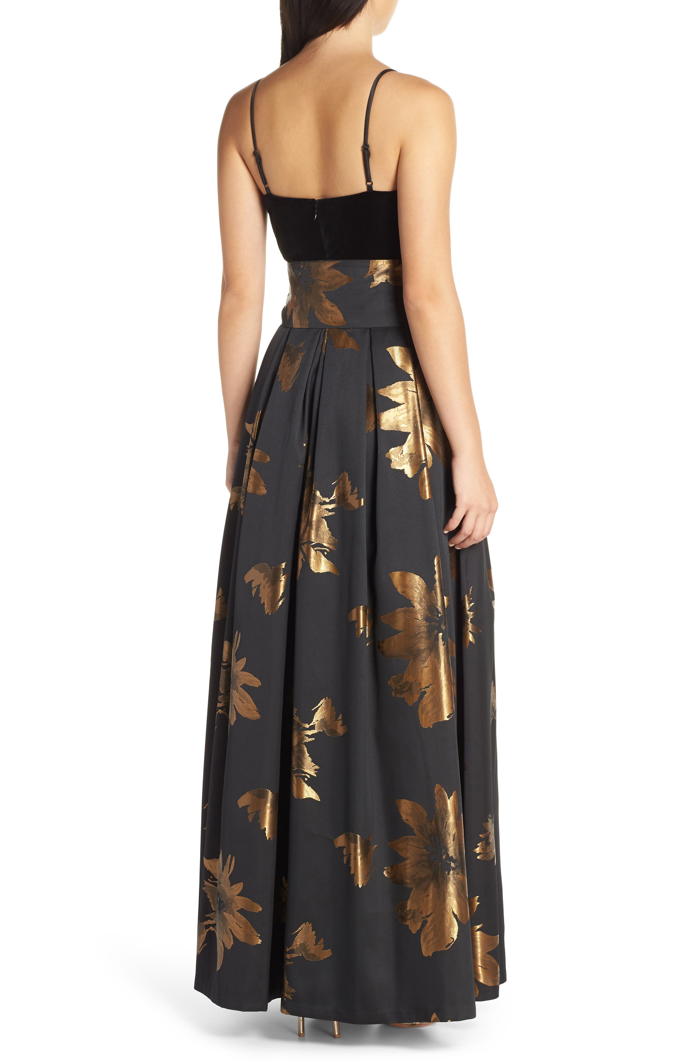 ELIZA J, Metallic Print Gown, Alternate thumbnail 2, color, 001