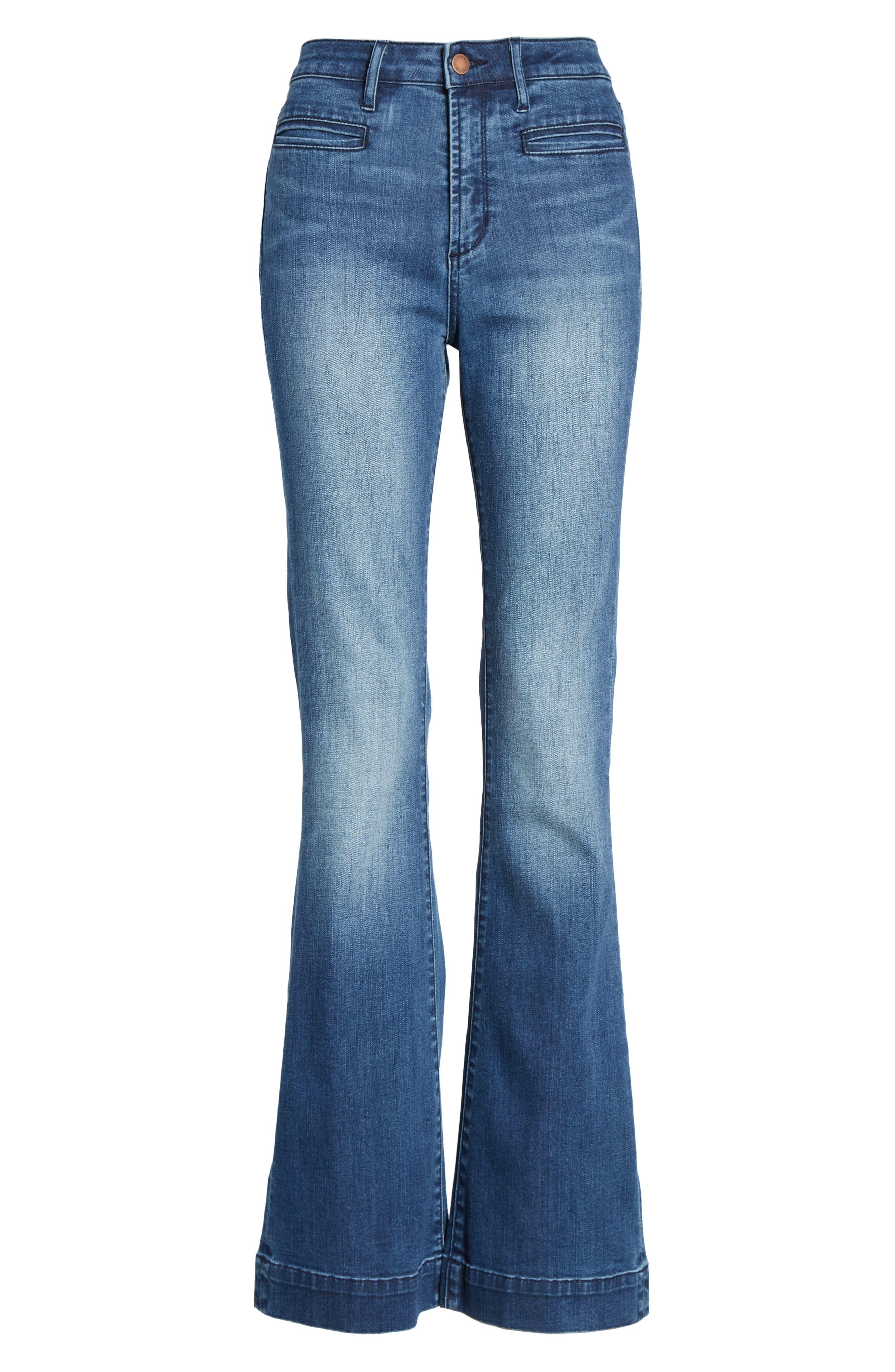 LEITH, High Waist Flare Jeans, Alternate thumbnail 7, color, MEDIUM WASH
