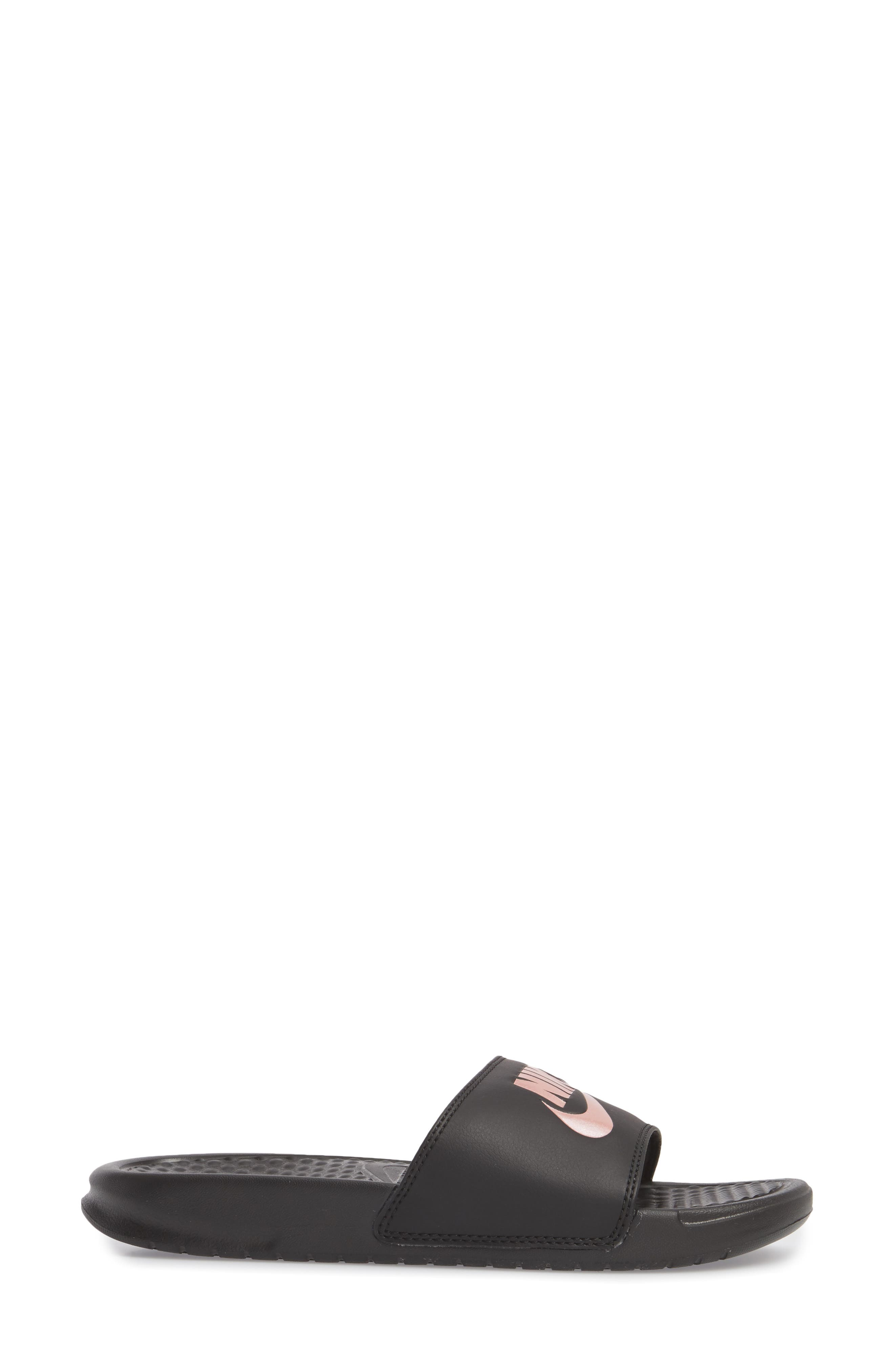 NIKE, Benassi JDI Slide Sandal, Alternate thumbnail 3, color, BLACK/ ROSE GOLD