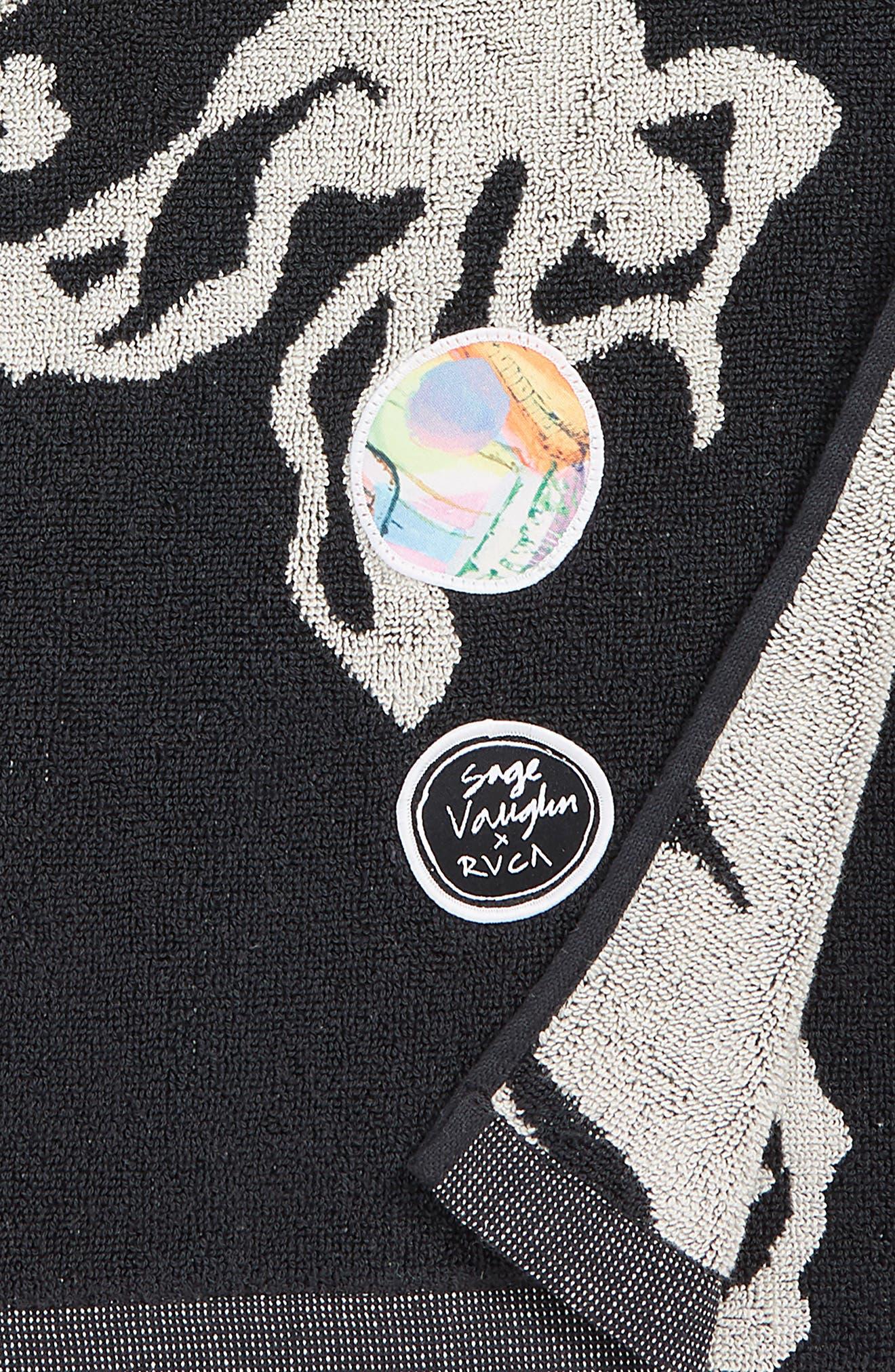 RVCA, Sage Vaughn Beach Towel, Alternate thumbnail 2, color, BLACK