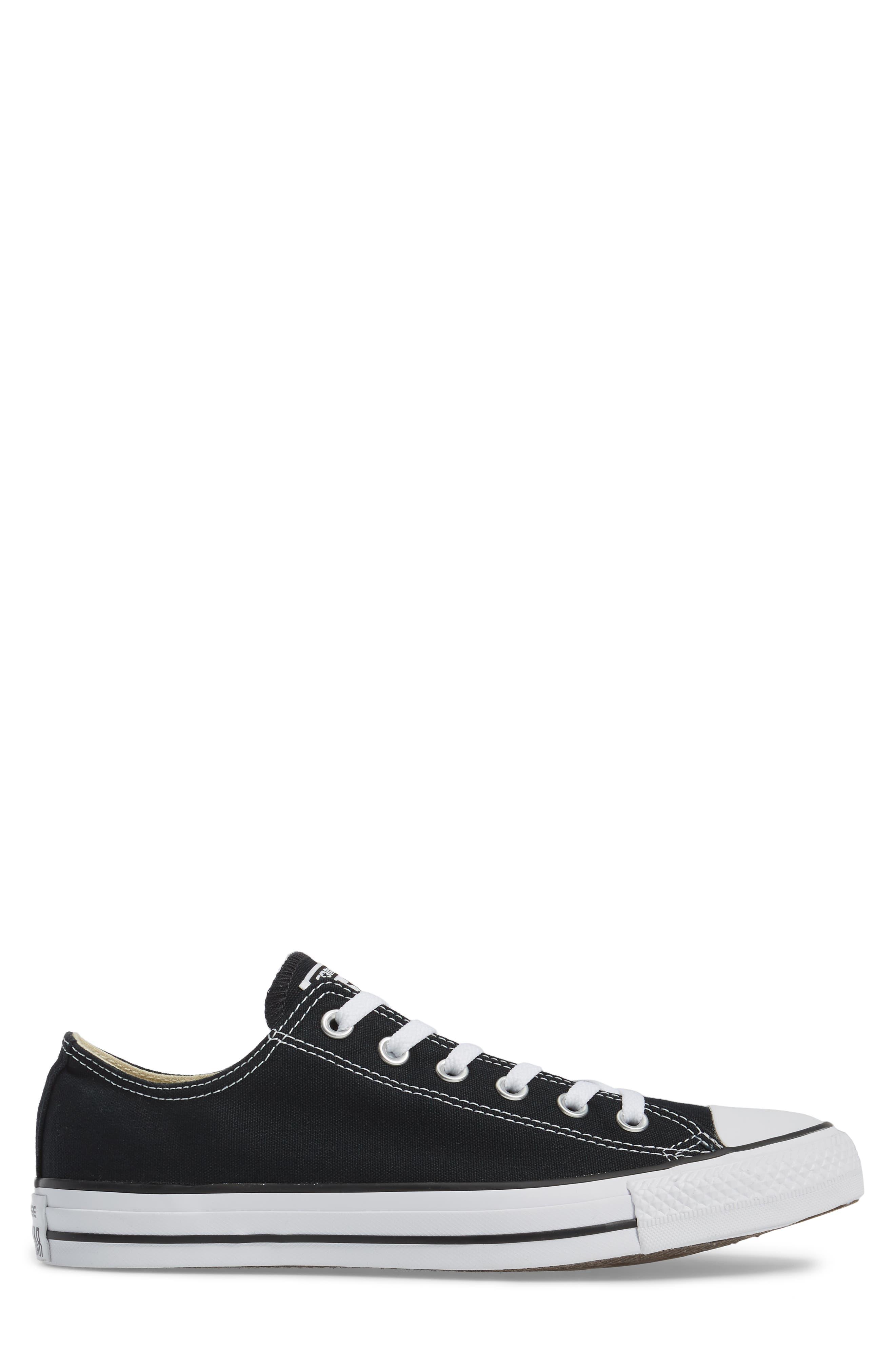 CONVERSE, Chuck Taylor<sup>®</sup> Low Sneaker, Alternate thumbnail 3, color, BLACK
