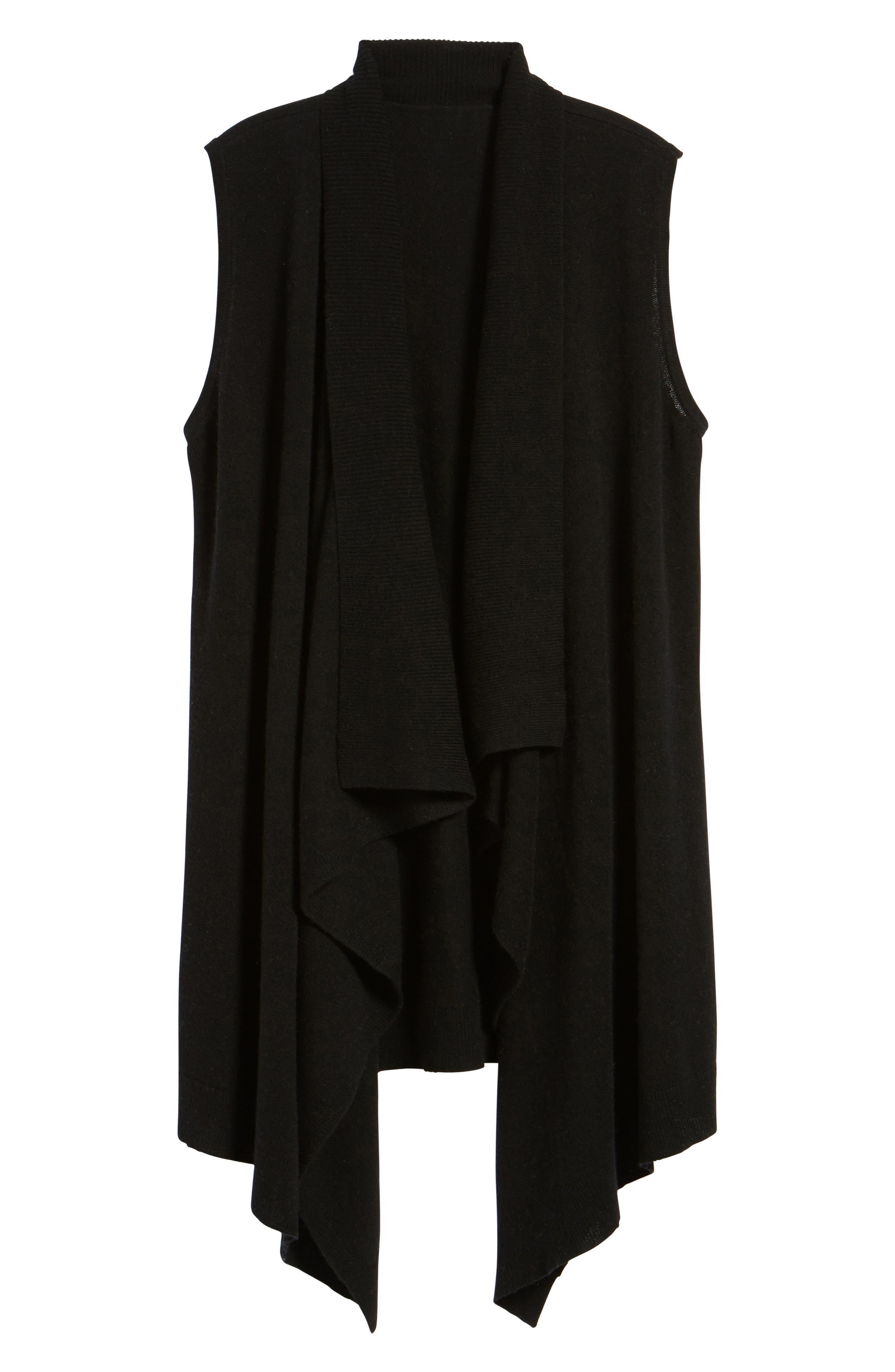 HALOGEN<SUP>®</SUP>, Wool & Cashmere Drape Front Sweater Vest, Alternate thumbnail 6, color, BLACK