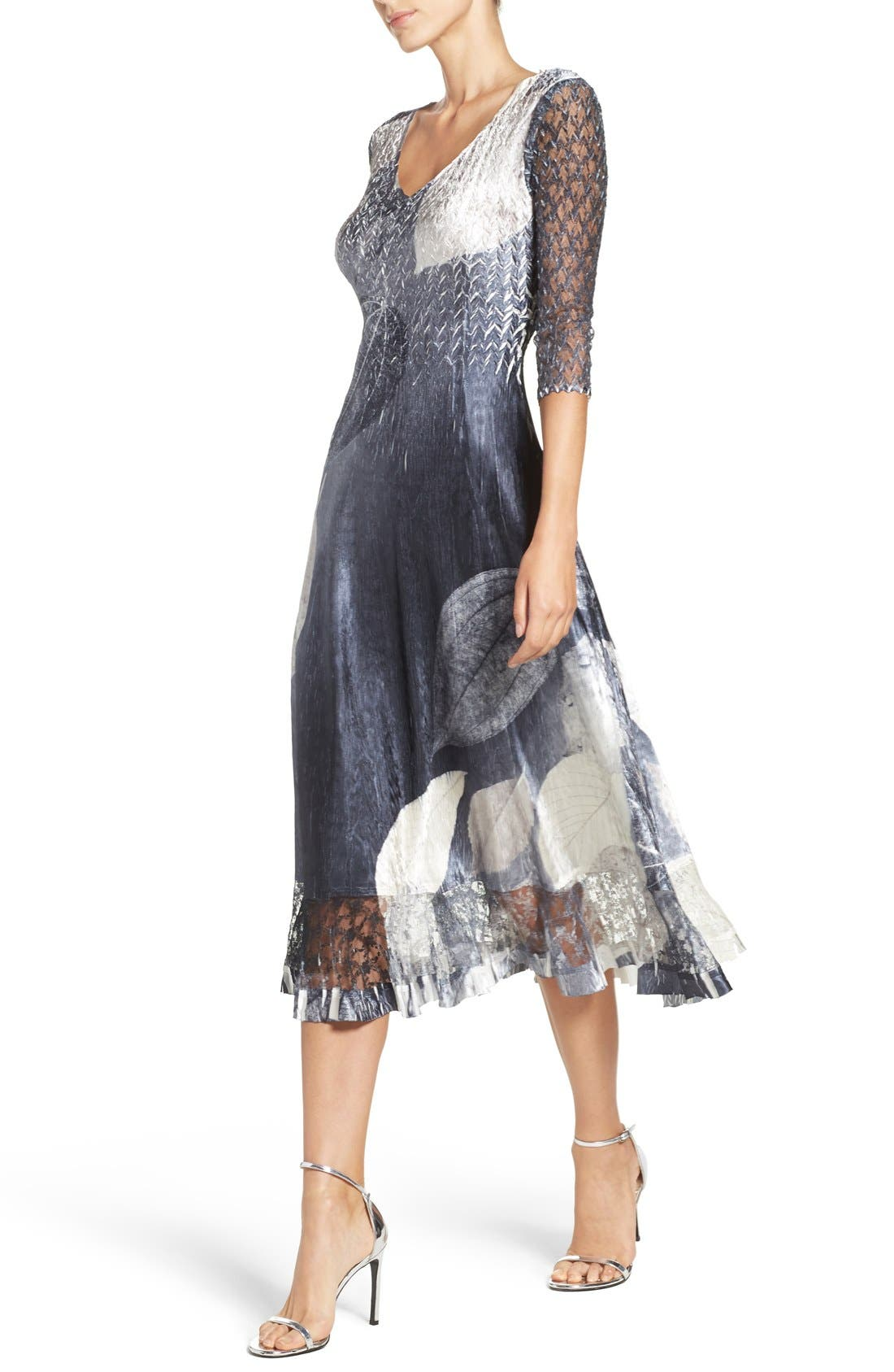 KOMAROV, Charmeuse & Lace A-Line Dress, Alternate thumbnail 4, color, BLACK MONET LEAVES