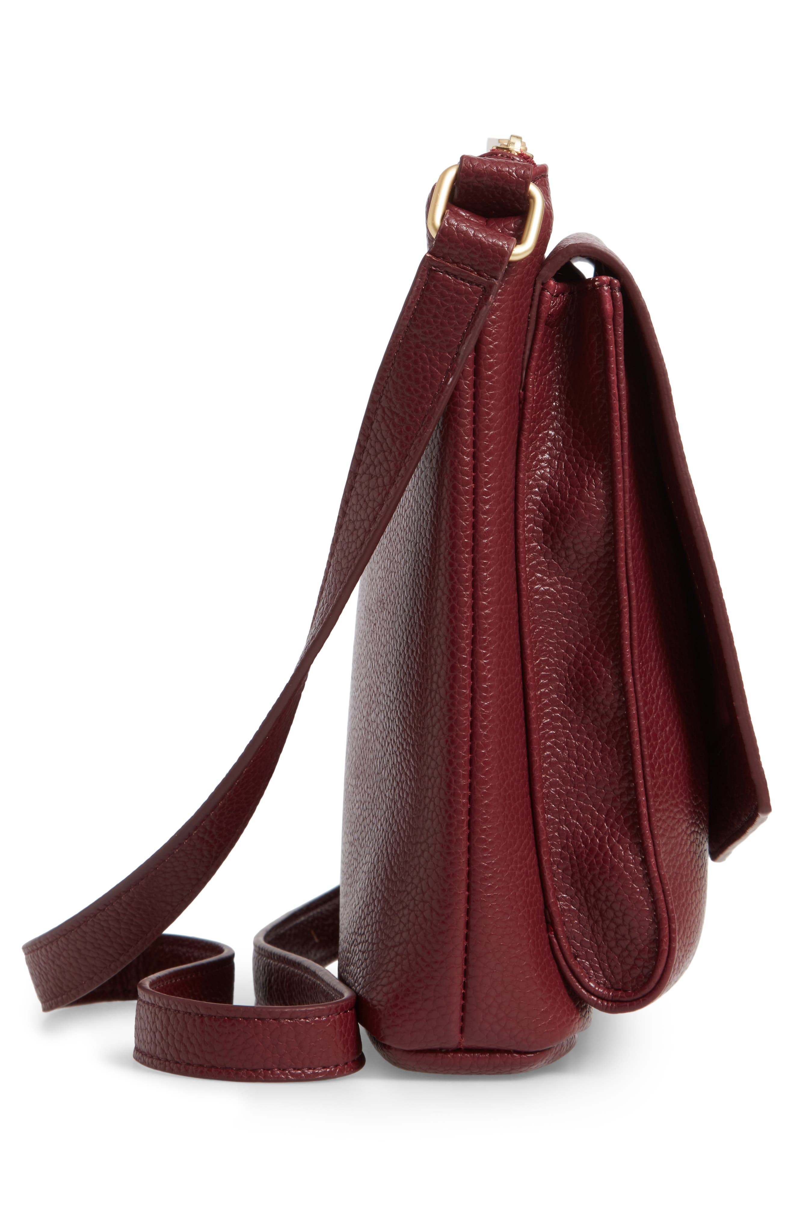 FRESHLY PICKED, Classic Faux Leather Crossbody Diaper Bag, Alternate thumbnail 5, color, BURGUNDY