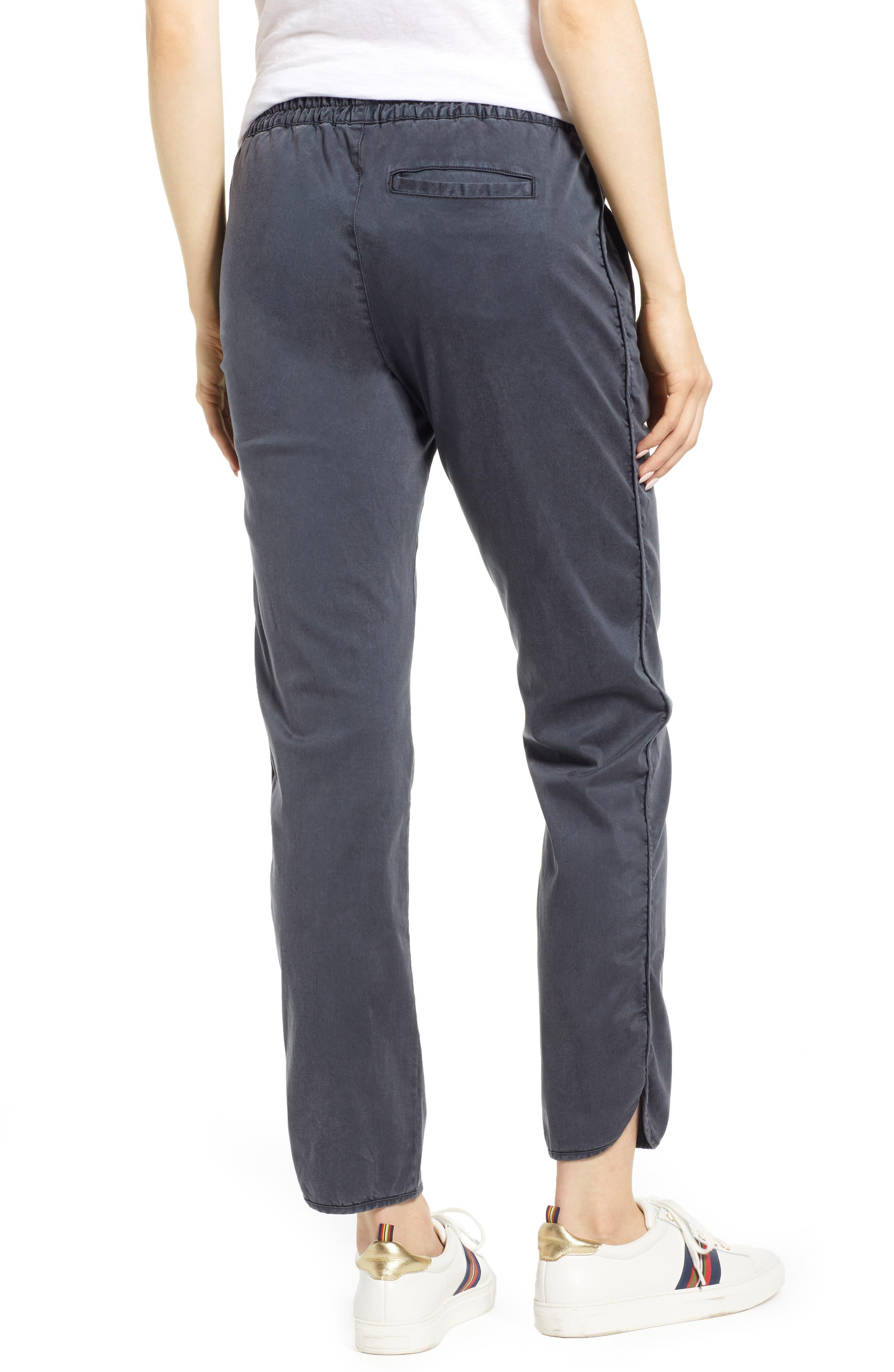 CASLON<SUP>®</SUP>, Sandwashed Pull-On Pants, Alternate thumbnail 2, color, GREY EBONY