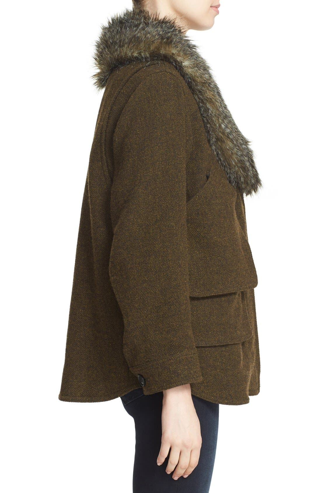 SMYTHE, 'Flak' Wool Blend Jacket with Removable Faux Fur Collar, Alternate thumbnail 5, color, 300